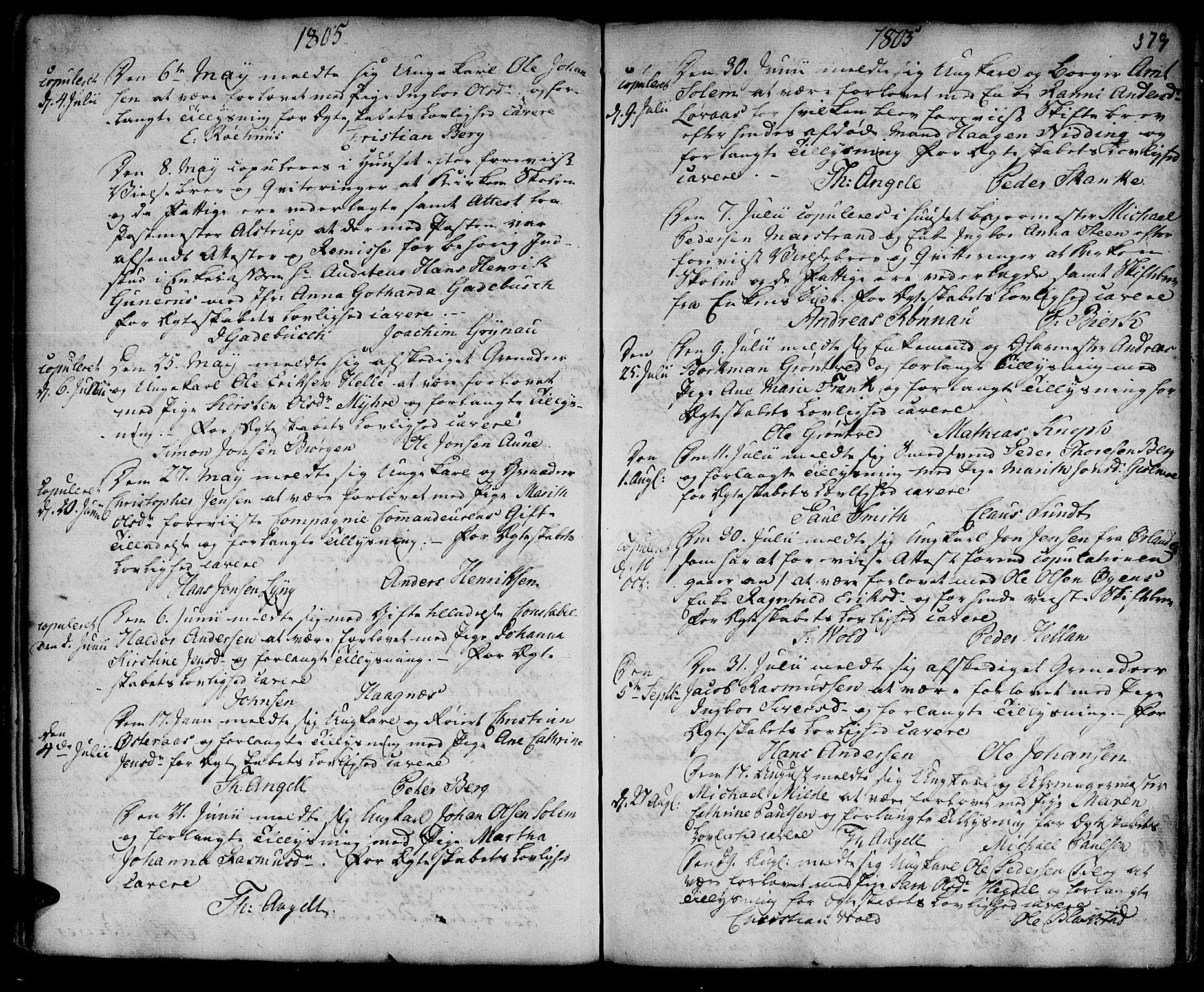 SAT, Ministerialprotokoller, klokkerbøker og fødselsregistre - Sør-Trøndelag, 601/L0038: Ministerialbok nr. 601A06, 1766-1877, s. 379