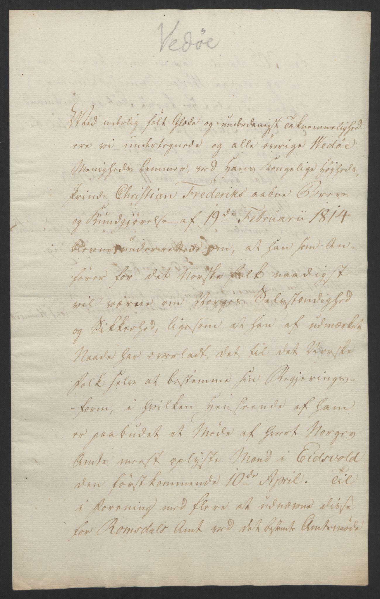 RA, Statsrådssekretariatet, D/Db/L0008: Fullmakter for Eidsvollsrepresentantene i 1814. , 1814, s. 414