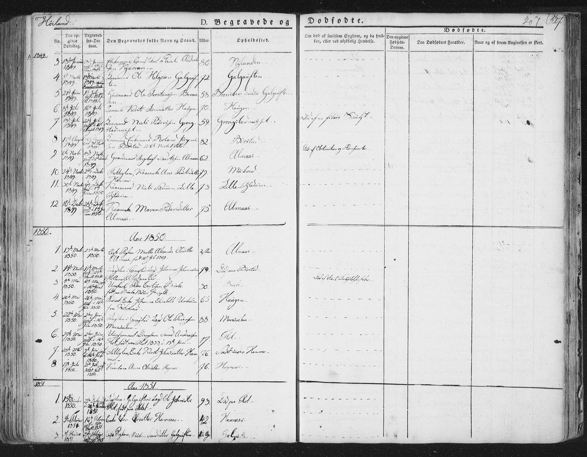 SAT, Ministerialprotokoller, klokkerbøker og fødselsregistre - Nord-Trøndelag, 758/L0513: Ministerialbok nr. 758A02 /2, 1839-1868, s. 207