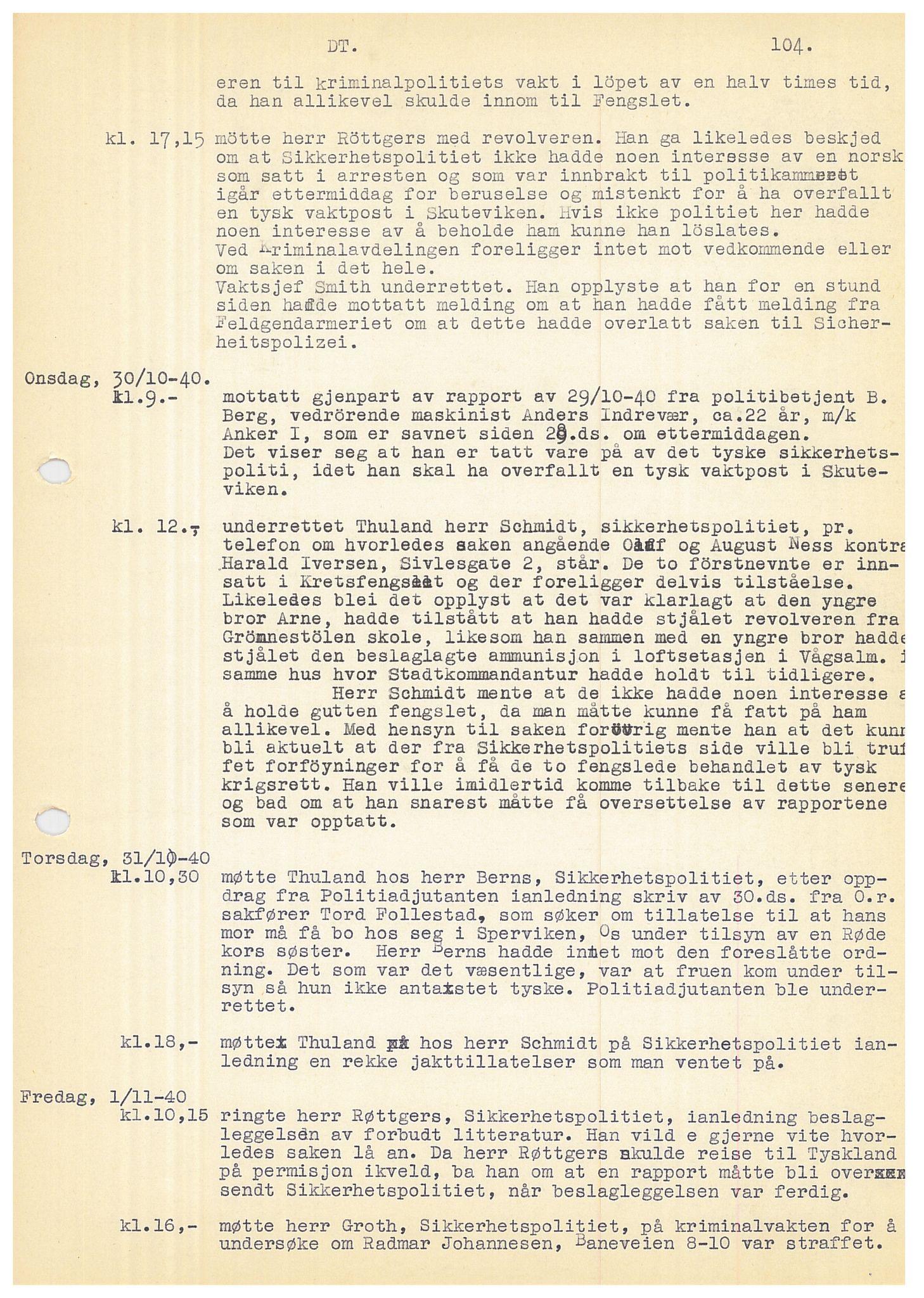 SAB, Bergen politidistrikt, Y/Ye/L0001: Avskrift av krigsdagbok av Dankert Thuland, 1940-1941, s. 104