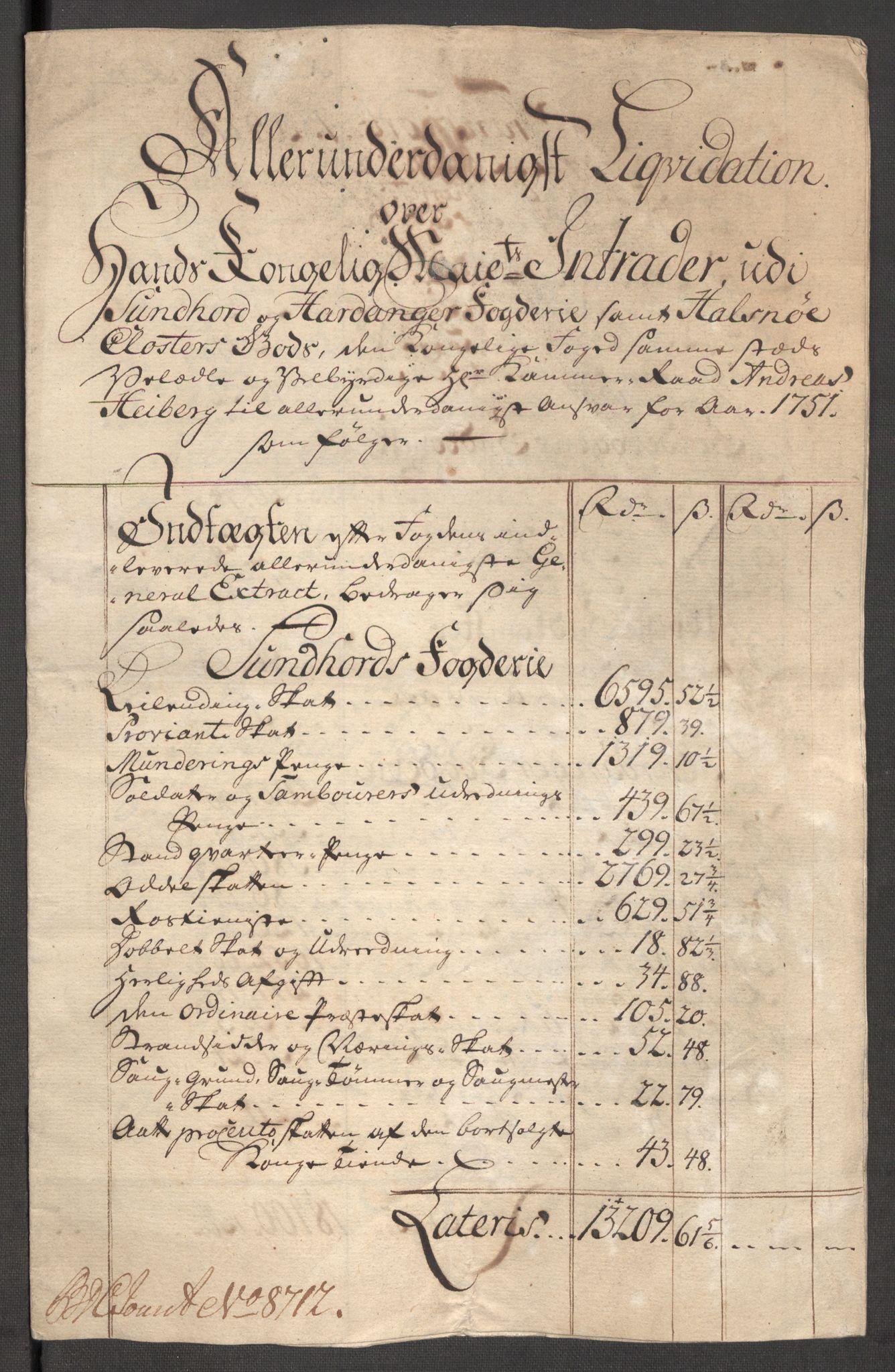 RA, Rentekammeret inntil 1814, Reviderte regnskaper, Fogderegnskap, R48/L3056: Fogderegnskap Sunnhordland og Hardanger, 1751, s. 77