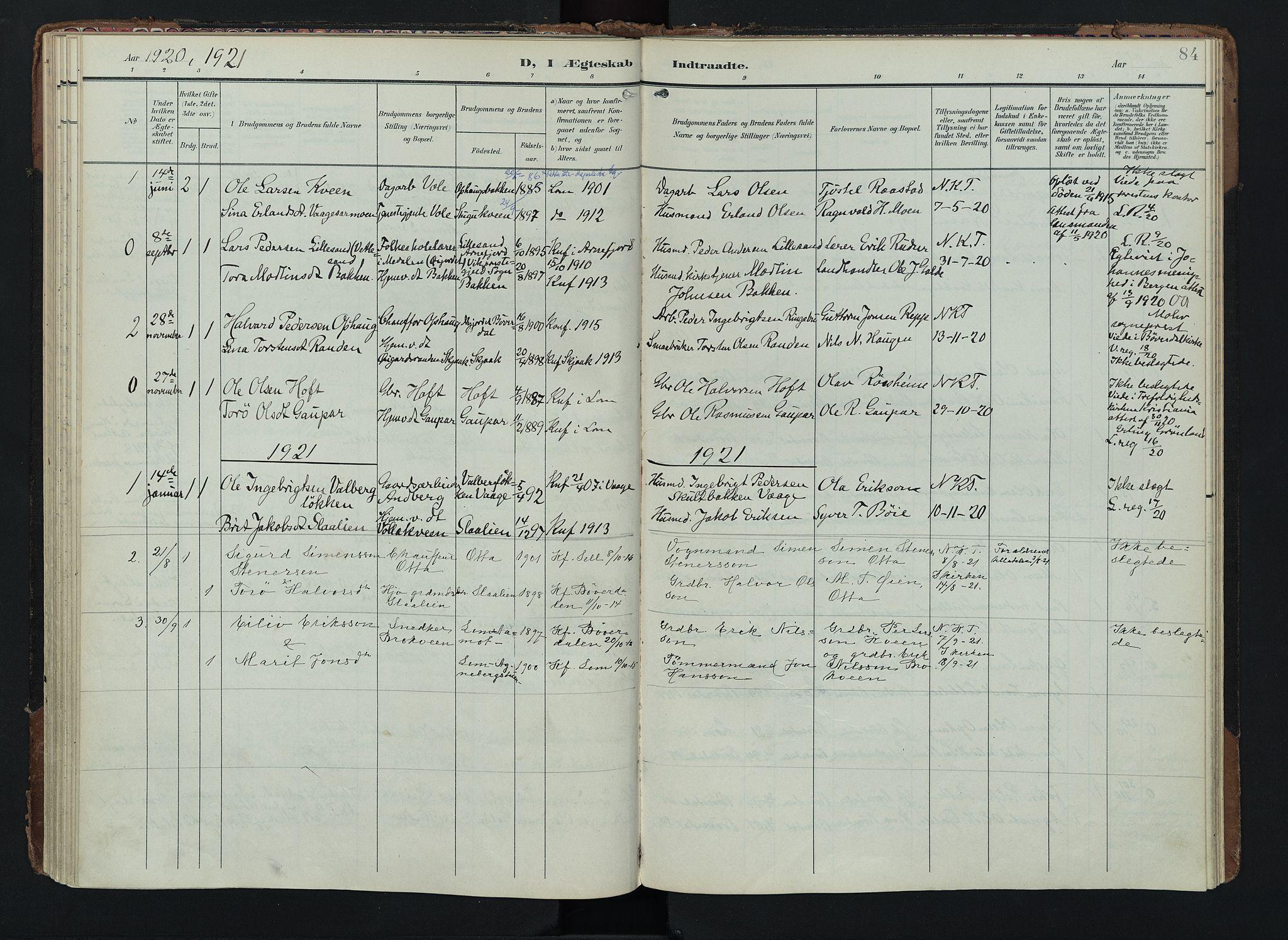 SAH, Lom prestekontor, K/L0012: Ministerialbok nr. 12, 1904-1928, s. 84