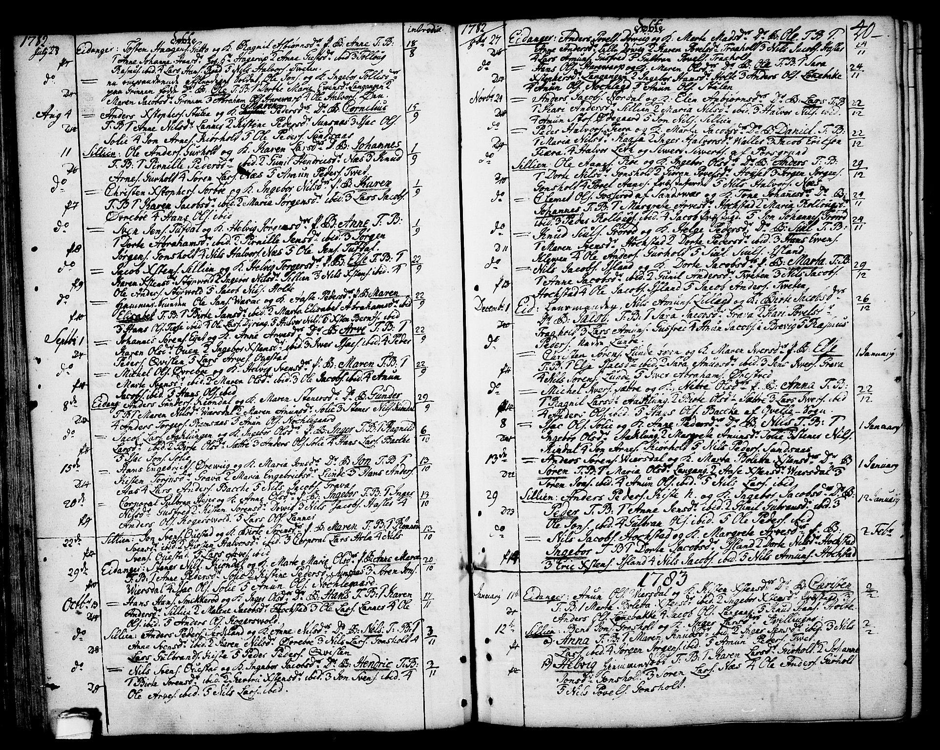 SAKO, Eidanger kirkebøker, F/Fa/L0006: Ministerialbok nr. 6, 1764-1814, s. 40