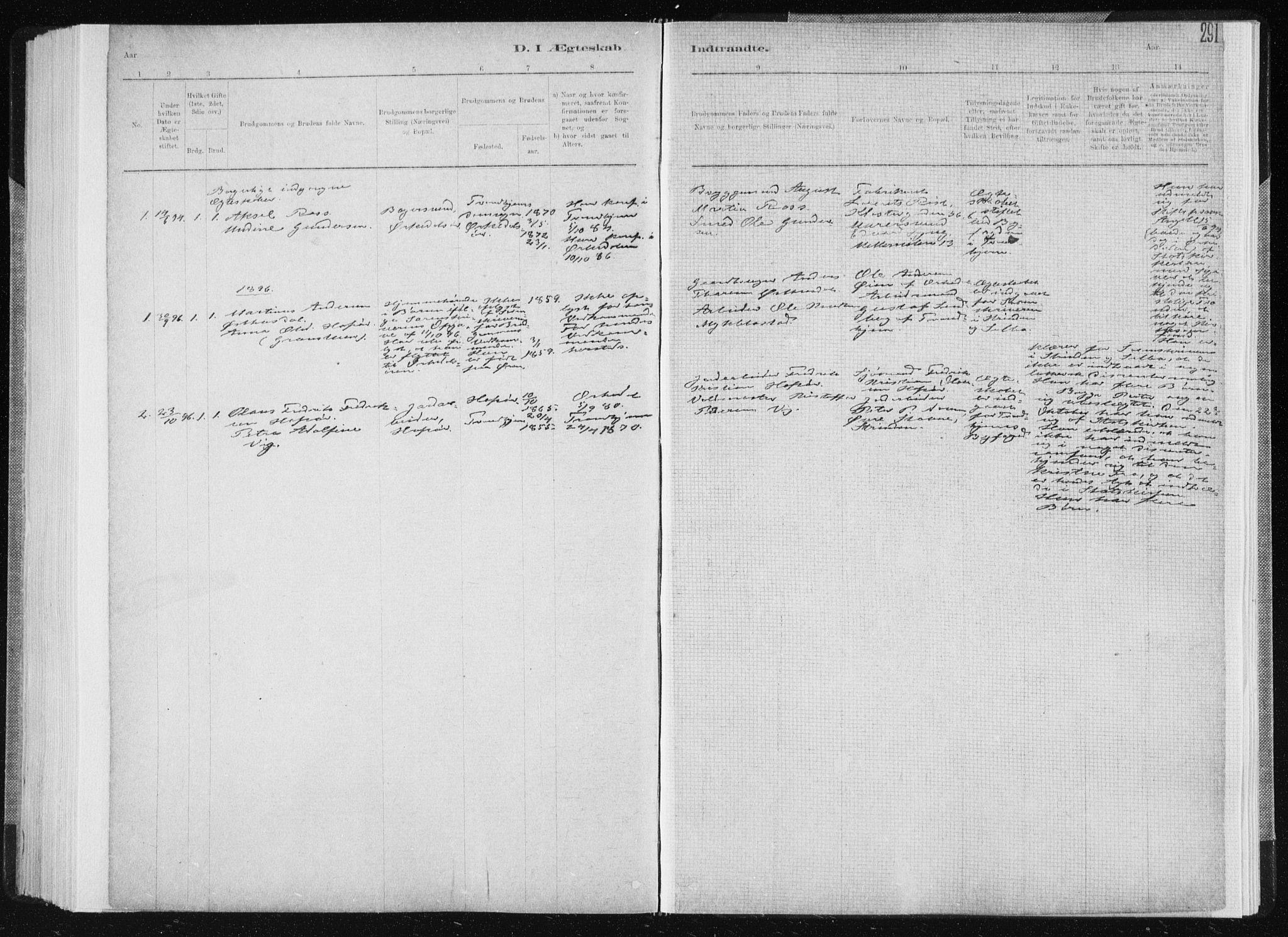 SAT, Ministerialprotokoller, klokkerbøker og fødselsregistre - Sør-Trøndelag, 668/L0818: Klokkerbok nr. 668C07, 1885-1898, s. 291