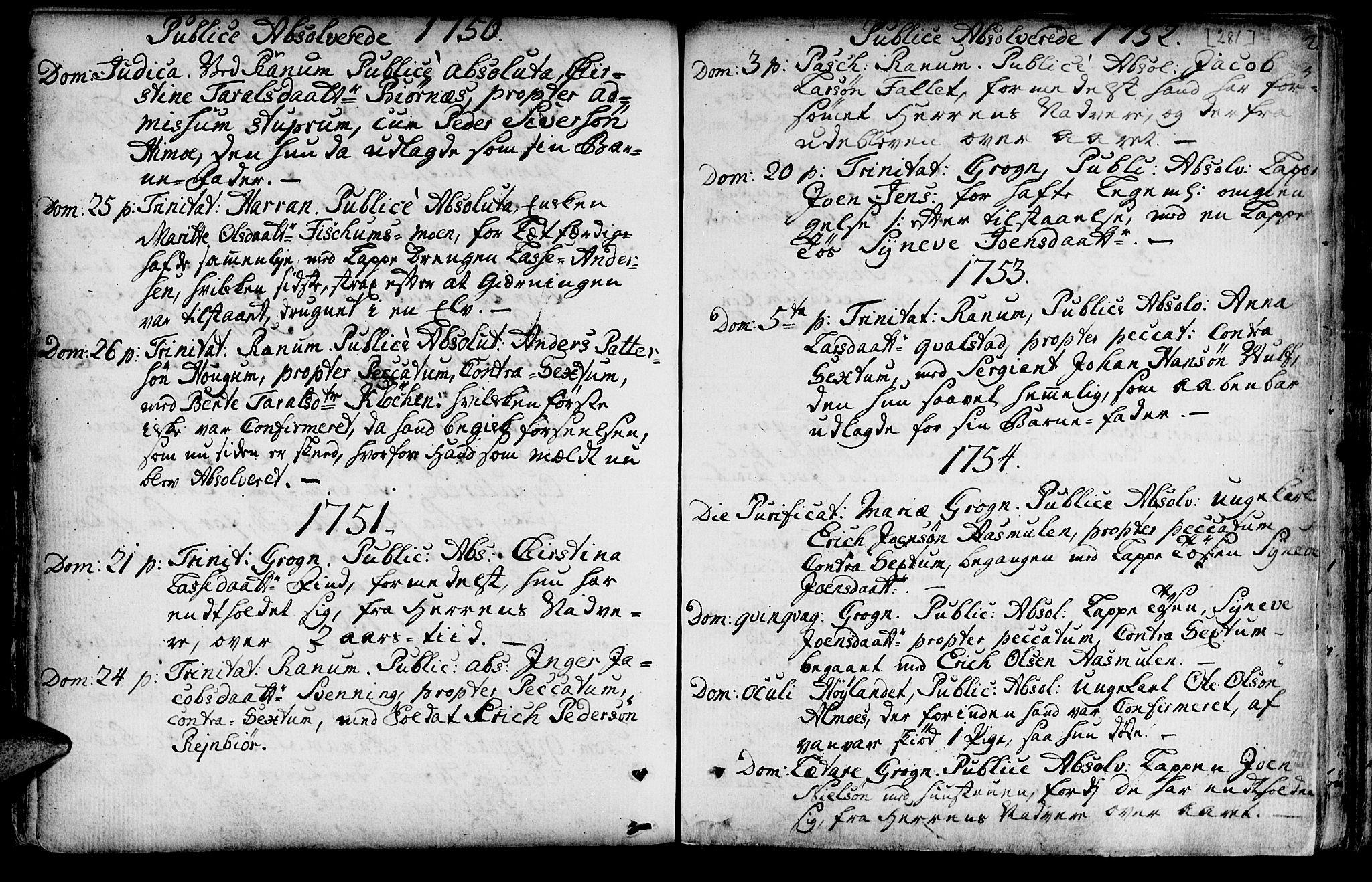 SAT, Ministerialprotokoller, klokkerbøker og fødselsregistre - Nord-Trøndelag, 764/L0542: Ministerialbok nr. 764A02, 1748-1779, s. 281