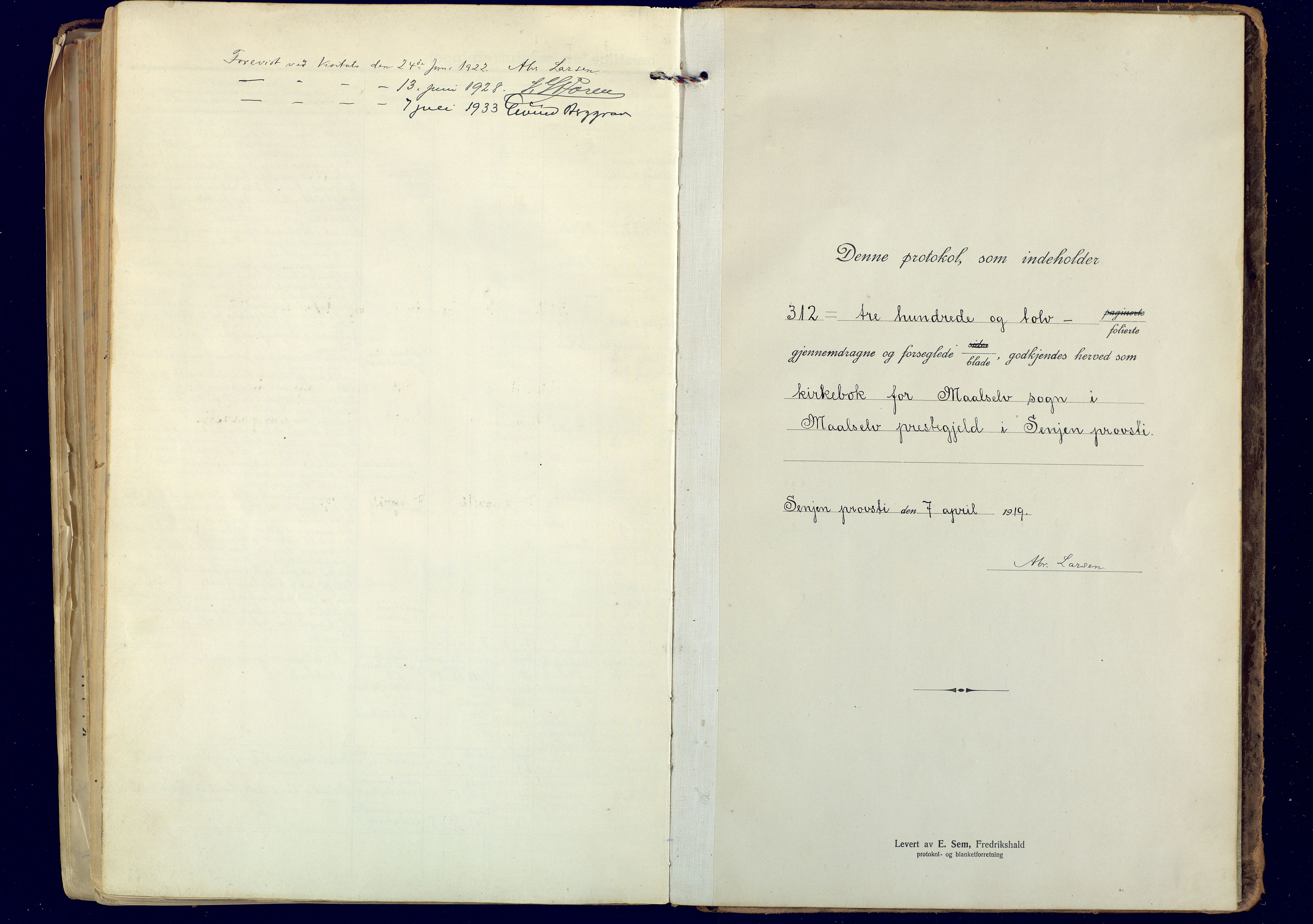 SATØ, Målselv sokneprestembete, Ministerialbok nr. 14, 1919-1932, s. 313
