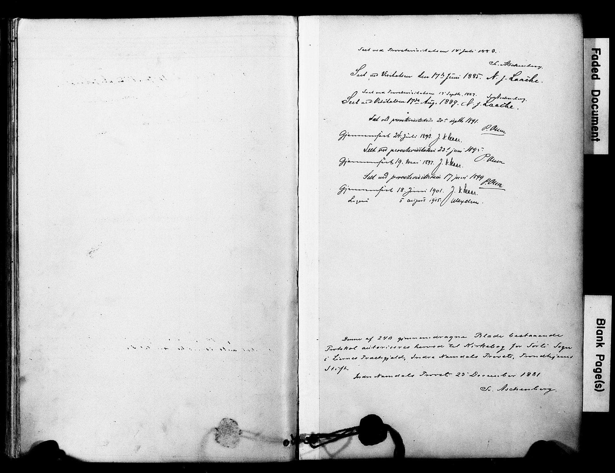 SAT, Ministerialprotokoller, klokkerbøker og fødselsregistre - Nord-Trøndelag, 757/L0505: Ministerialbok nr. 757A01, 1882-1904