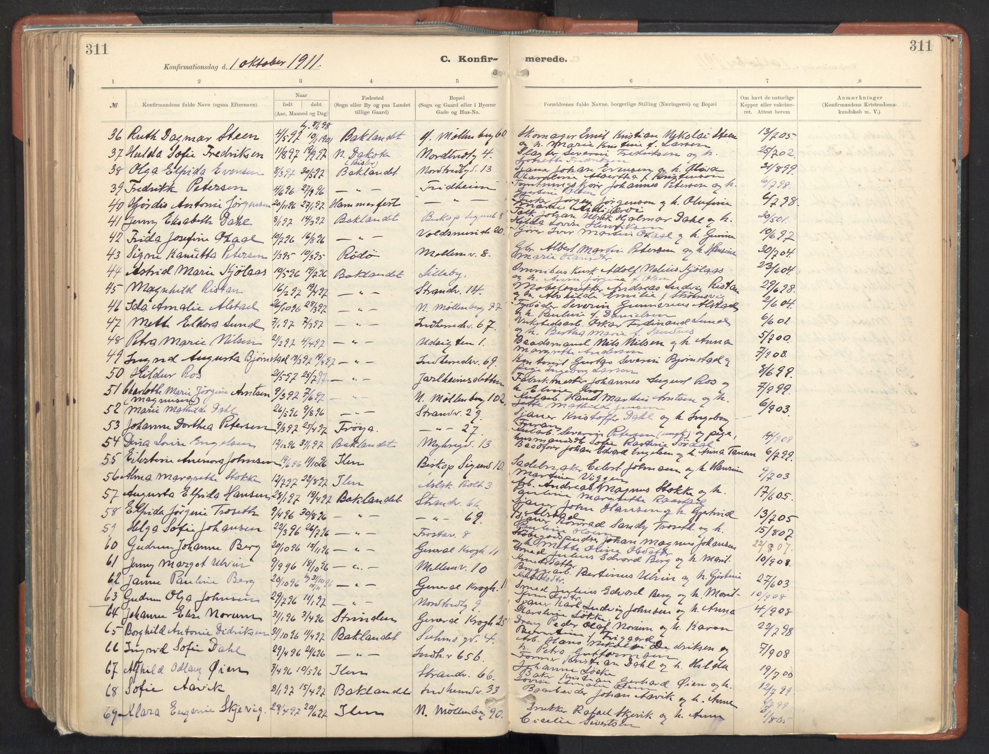 SAT, Ministerialprotokoller, klokkerbøker og fødselsregistre - Sør-Trøndelag, 605/L0243: Ministerialbok nr. 605A05, 1908-1923, s. 311