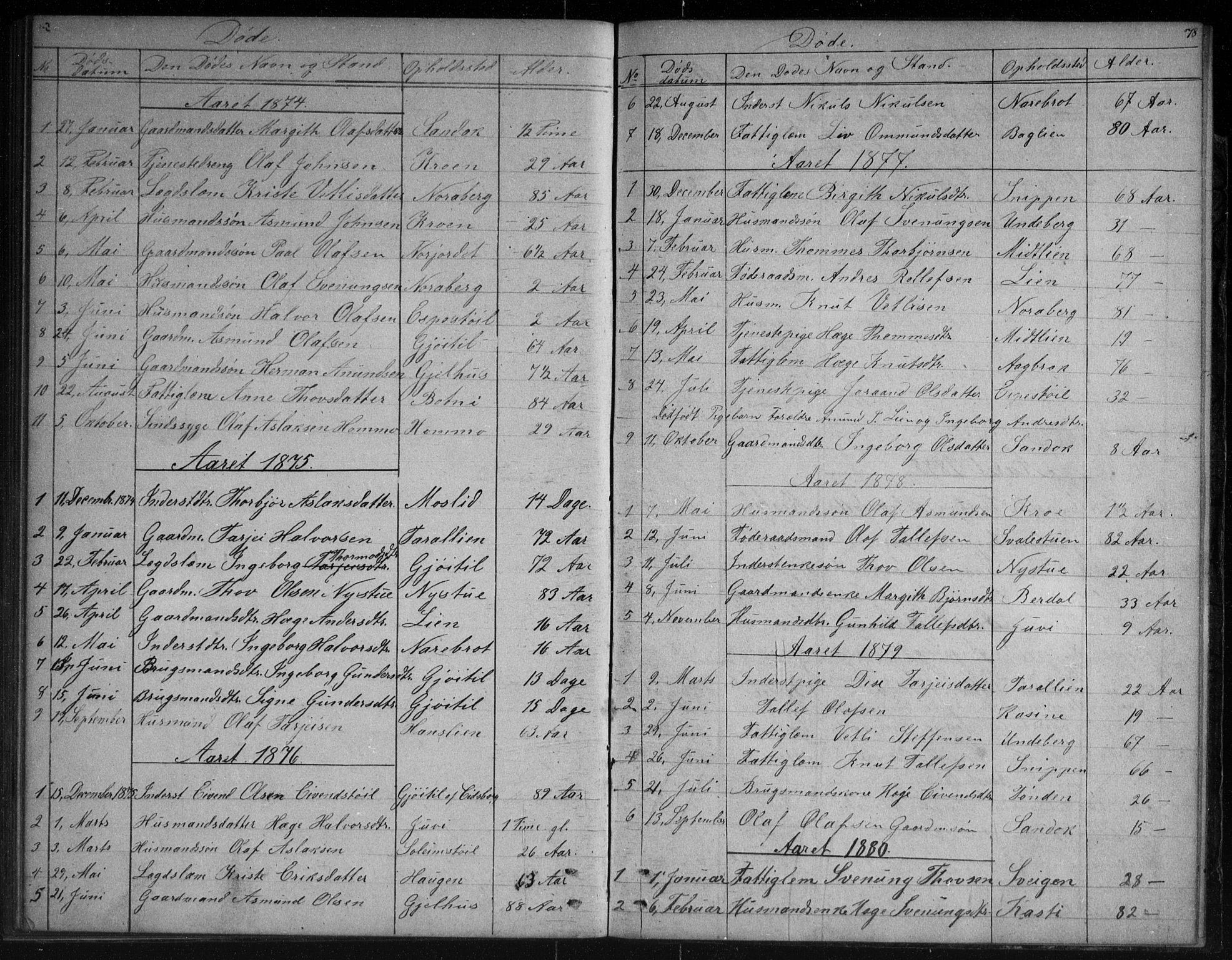 SAKO, Vinje kirkebøker, G/Gb/L0002: Klokkerbok nr. II 2, 1849-1891, s. 78