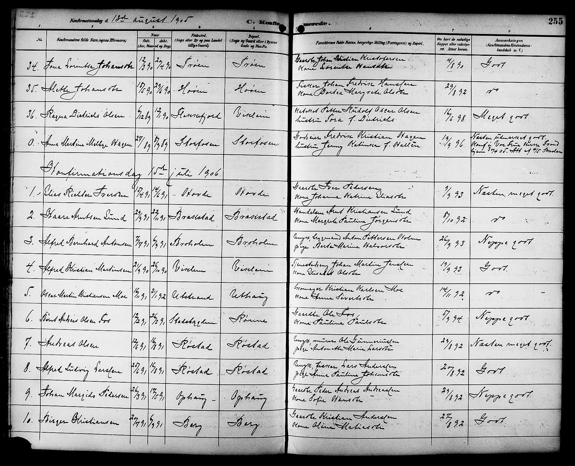 SAT, Ministerialprotokoller, klokkerbøker og fødselsregistre - Sør-Trøndelag, 659/L0746: Klokkerbok nr. 659C03, 1893-1912, s. 255