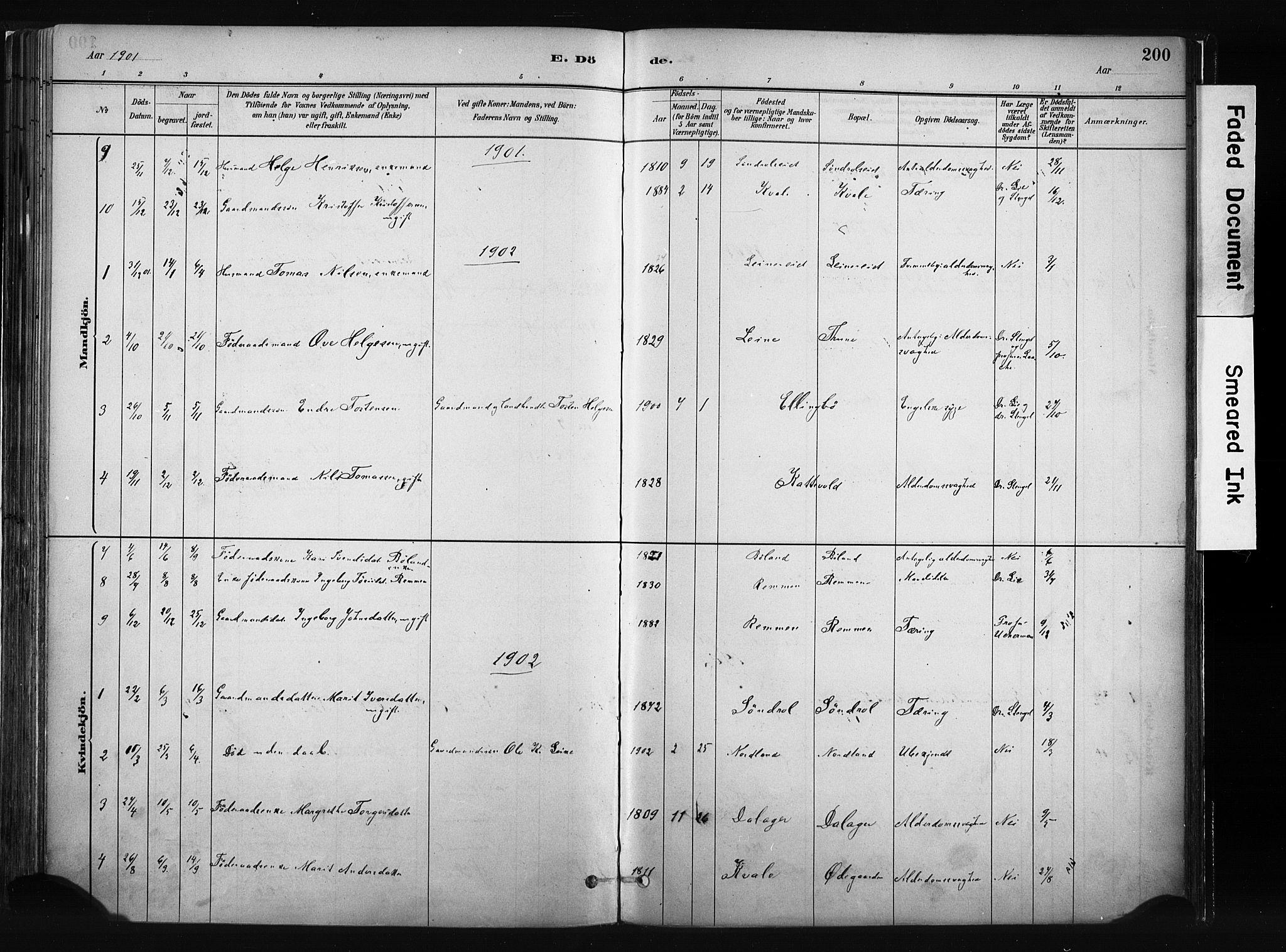 SAH, Vang prestekontor, Valdres, Ministerialbok nr. 8, 1882-1910, s. 200