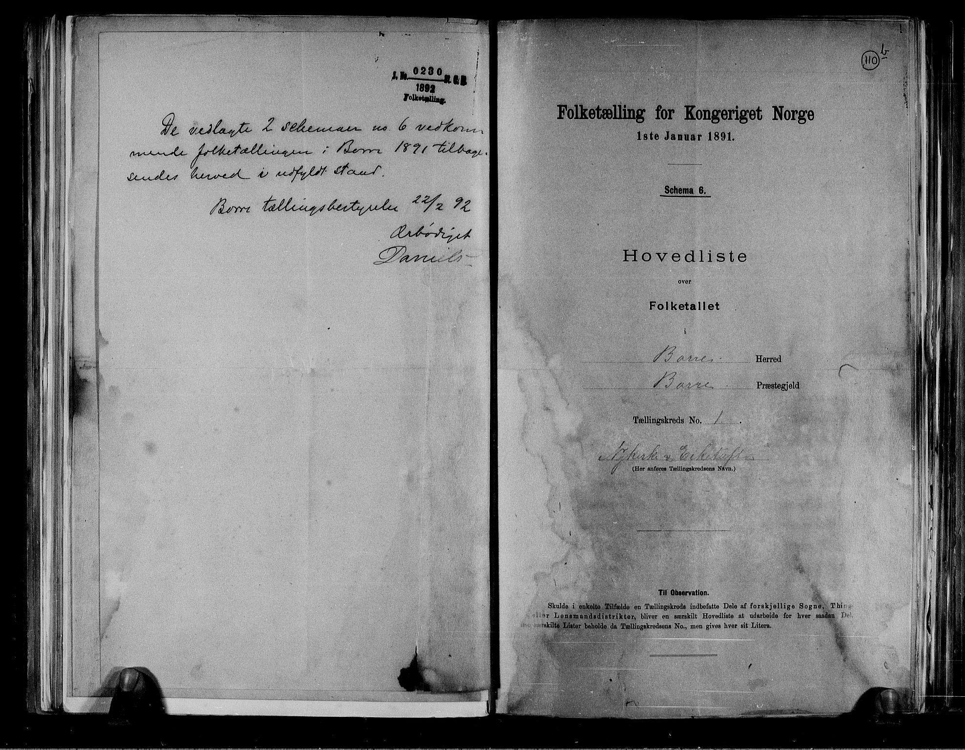 RA, Folketelling 1891 for 0717 Borre herred, 1891, s. 5