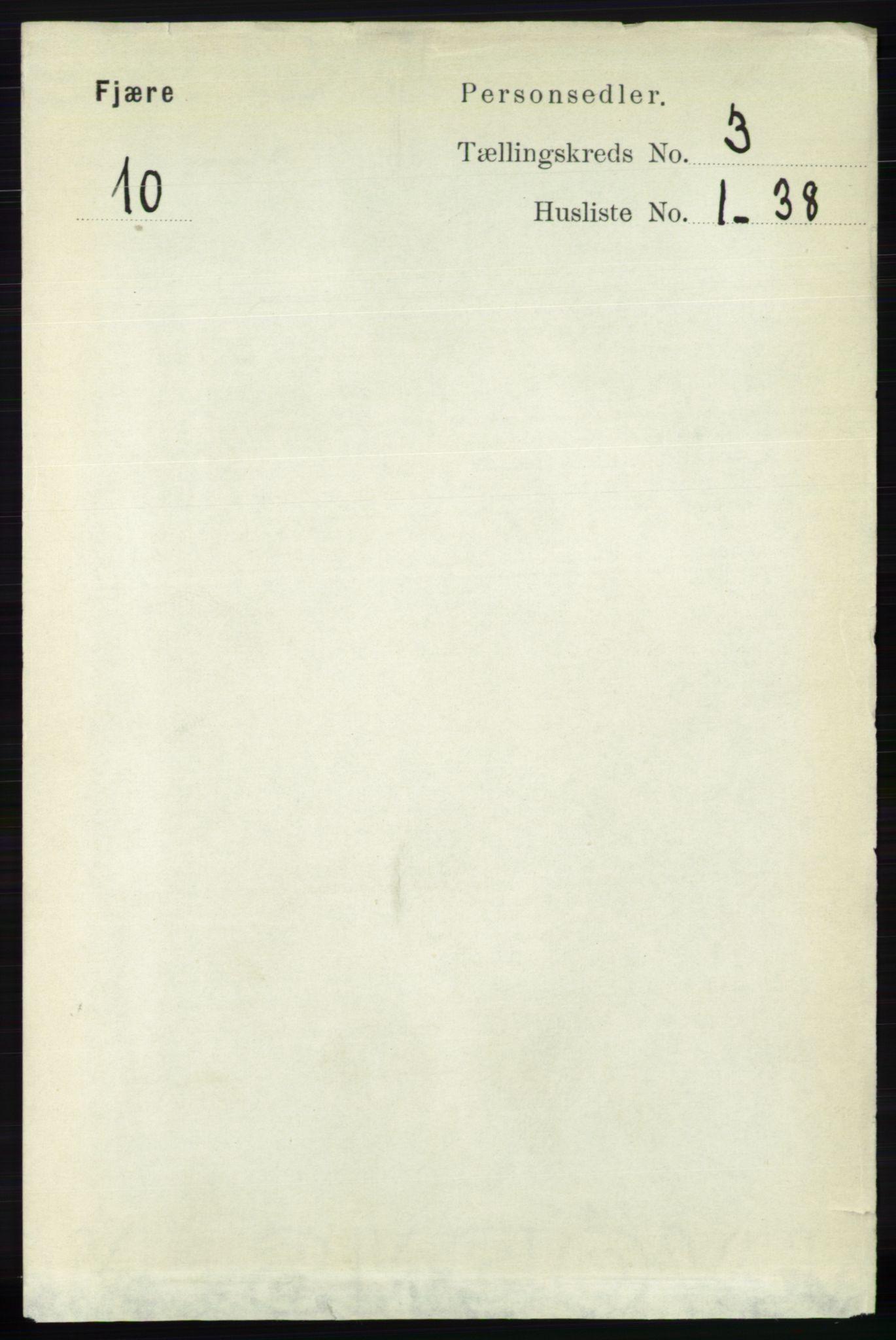 RA, Folketelling 1891 for 0923 Fjære herred, 1891, s. 1380
