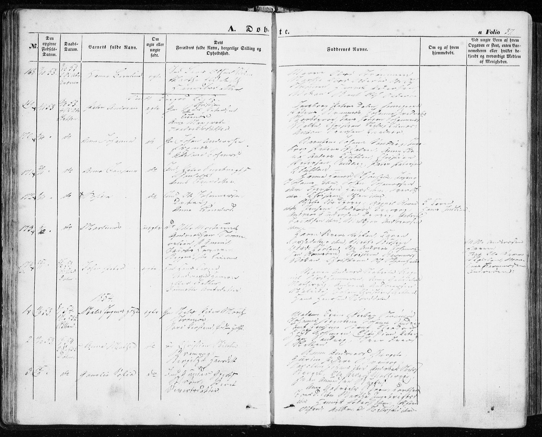 SAT, Ministerialprotokoller, klokkerbøker og fødselsregistre - Sør-Trøndelag, 634/L0530: Ministerialbok nr. 634A06, 1852-1860, s. 37
