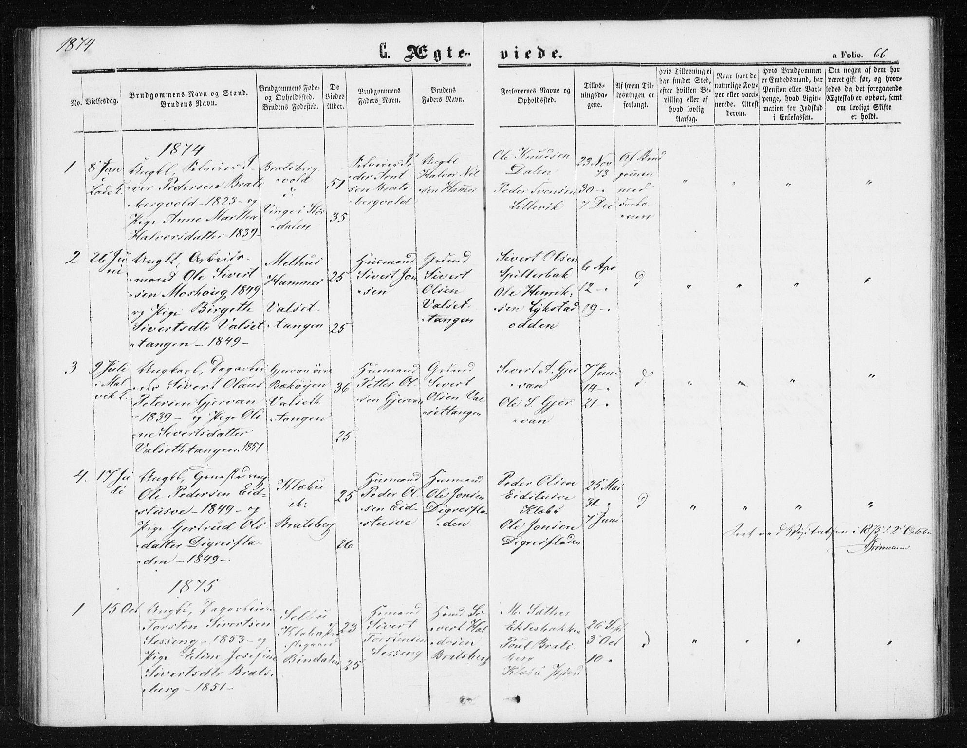 SAT, Ministerialprotokoller, klokkerbøker og fødselsregistre - Sør-Trøndelag, 608/L0333: Ministerialbok nr. 608A02, 1862-1876, s. 66