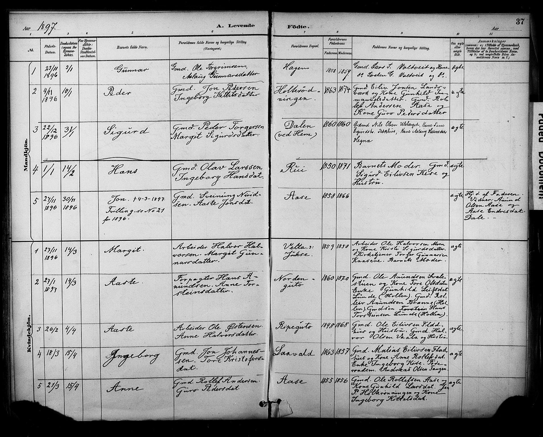 SAKO, Sauherad kirkebøker, F/Fa/L0009: Ministerialbok nr. I 9, 1887-1912, s. 37
