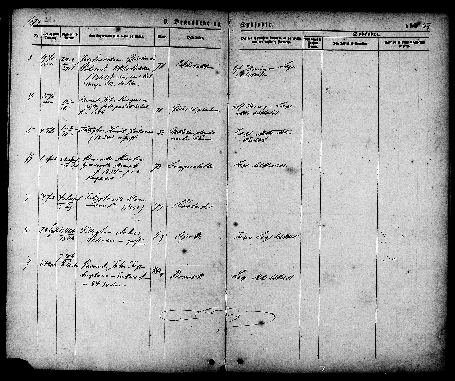 SAT, Ministerialprotokoller, klokkerbøker og fødselsregistre - Sør-Trøndelag, 608/L0334: Ministerialbok nr. 608A03, 1877-1886, s. 67