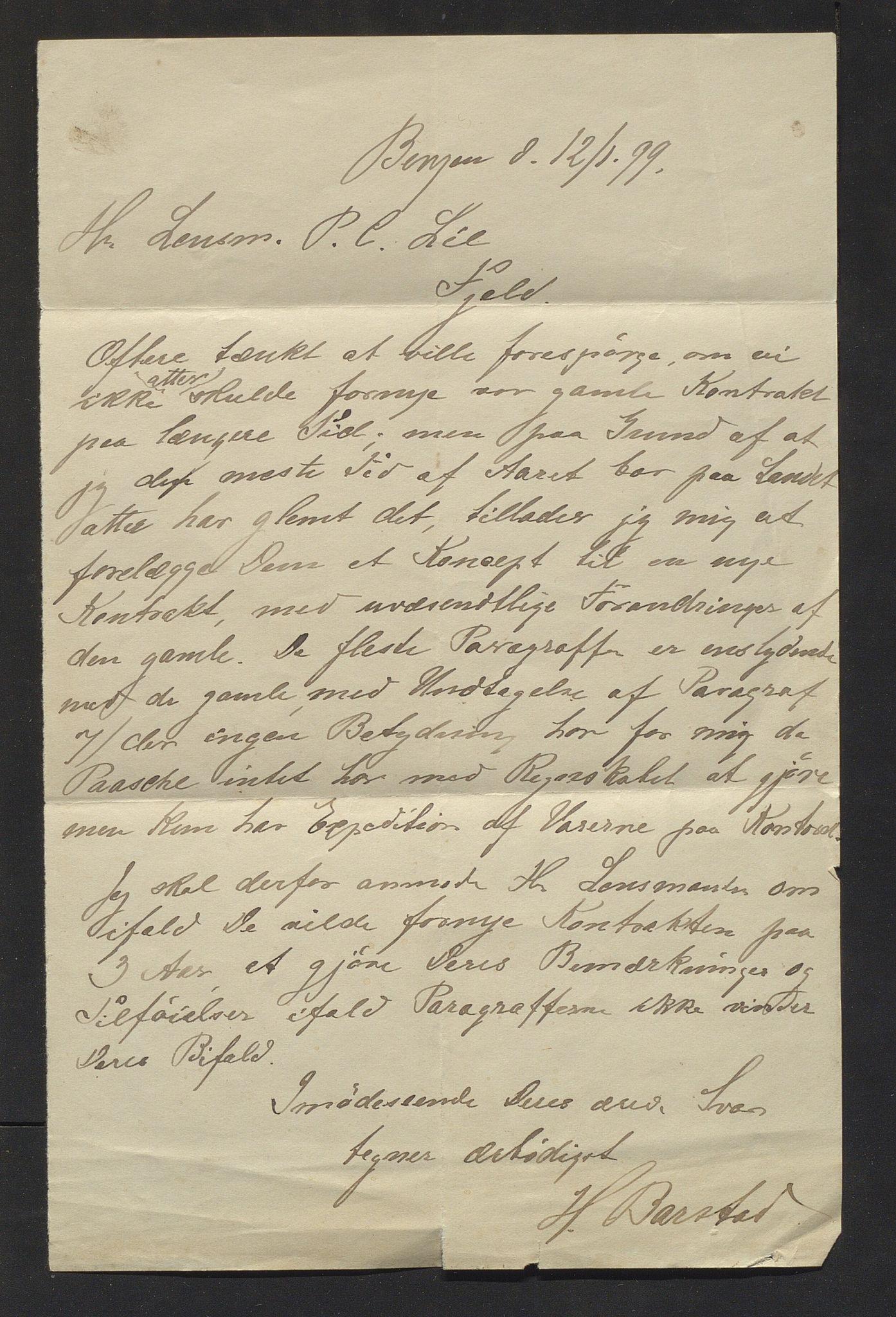 IKAH, Lyngedals dampskipsselskap, E/Ea/L0001: Korrespondanse , 1899