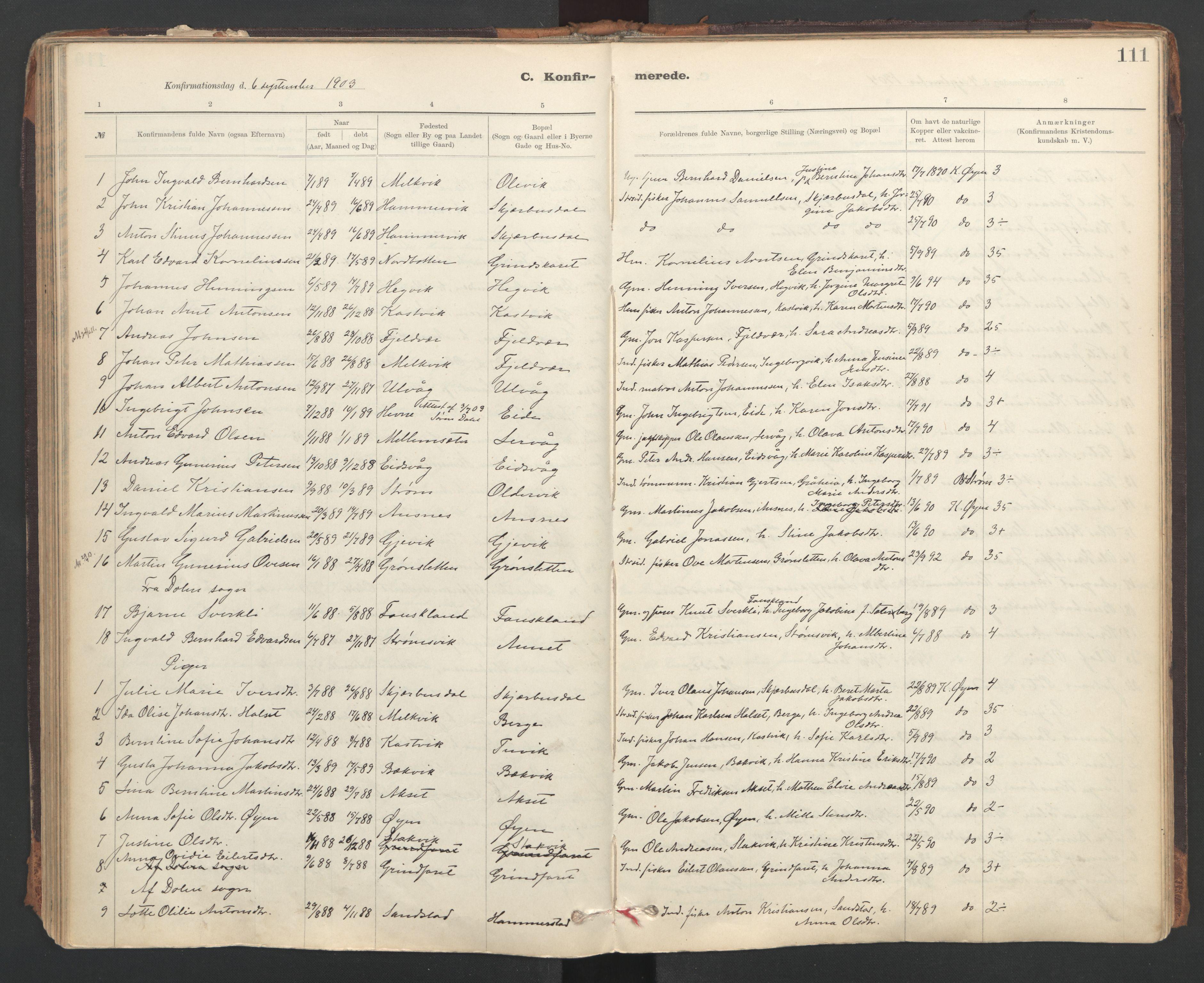 SAT, Ministerialprotokoller, klokkerbøker og fødselsregistre - Sør-Trøndelag, 637/L0559: Ministerialbok nr. 637A02, 1899-1923, s. 111