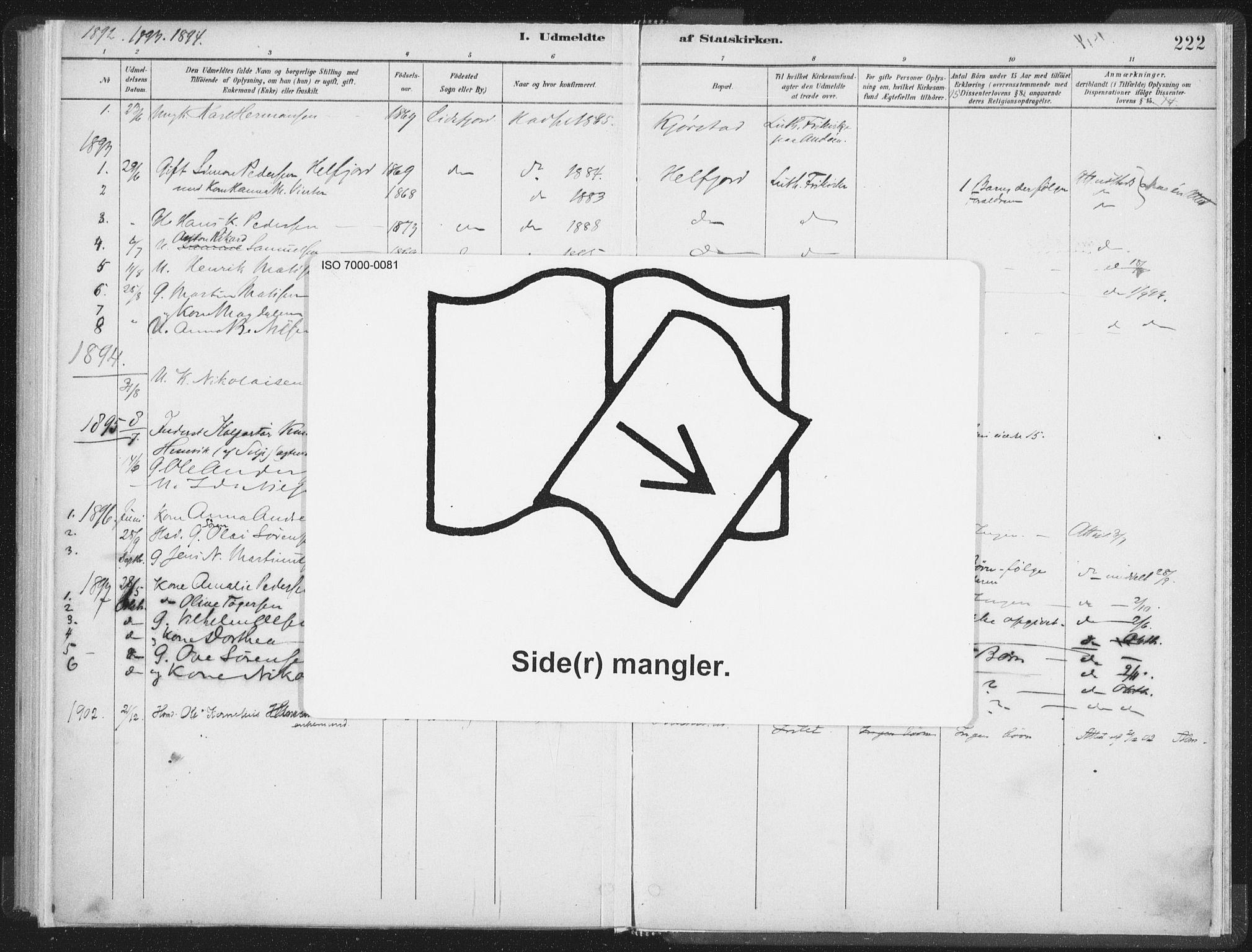 SAT, Ministerialprotokoller, klokkerbøker og fødselsregistre - Nordland, 890/L1286: Ministerialbok nr. 890A01, 1882-1902, s. 222