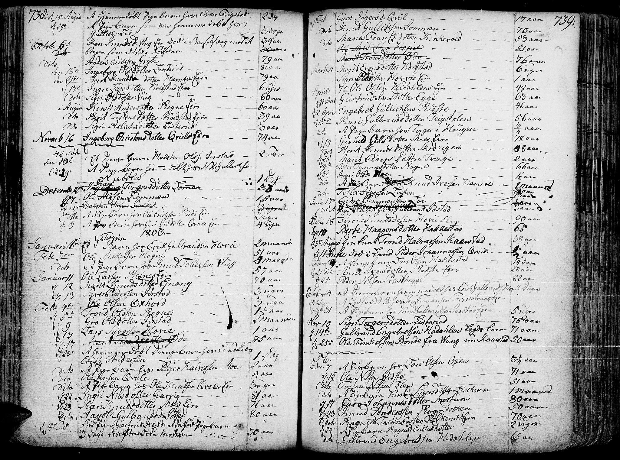 SAH, Slidre prestekontor, Ministerialbok nr. 1, 1724-1814, s. 738-739