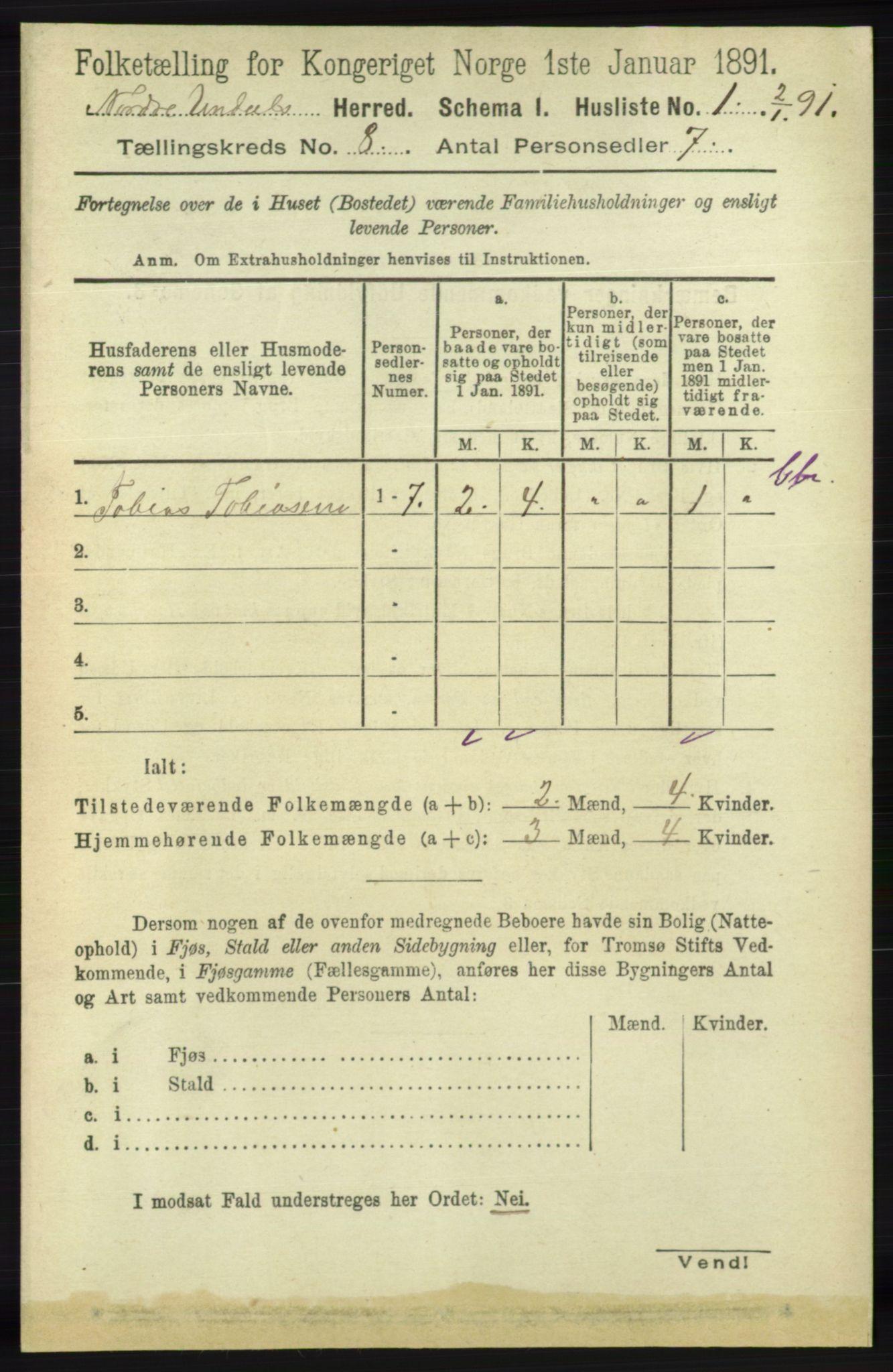 RA, Folketelling 1891 for 1028 Nord-Audnedal herred, 1891, s. 2072