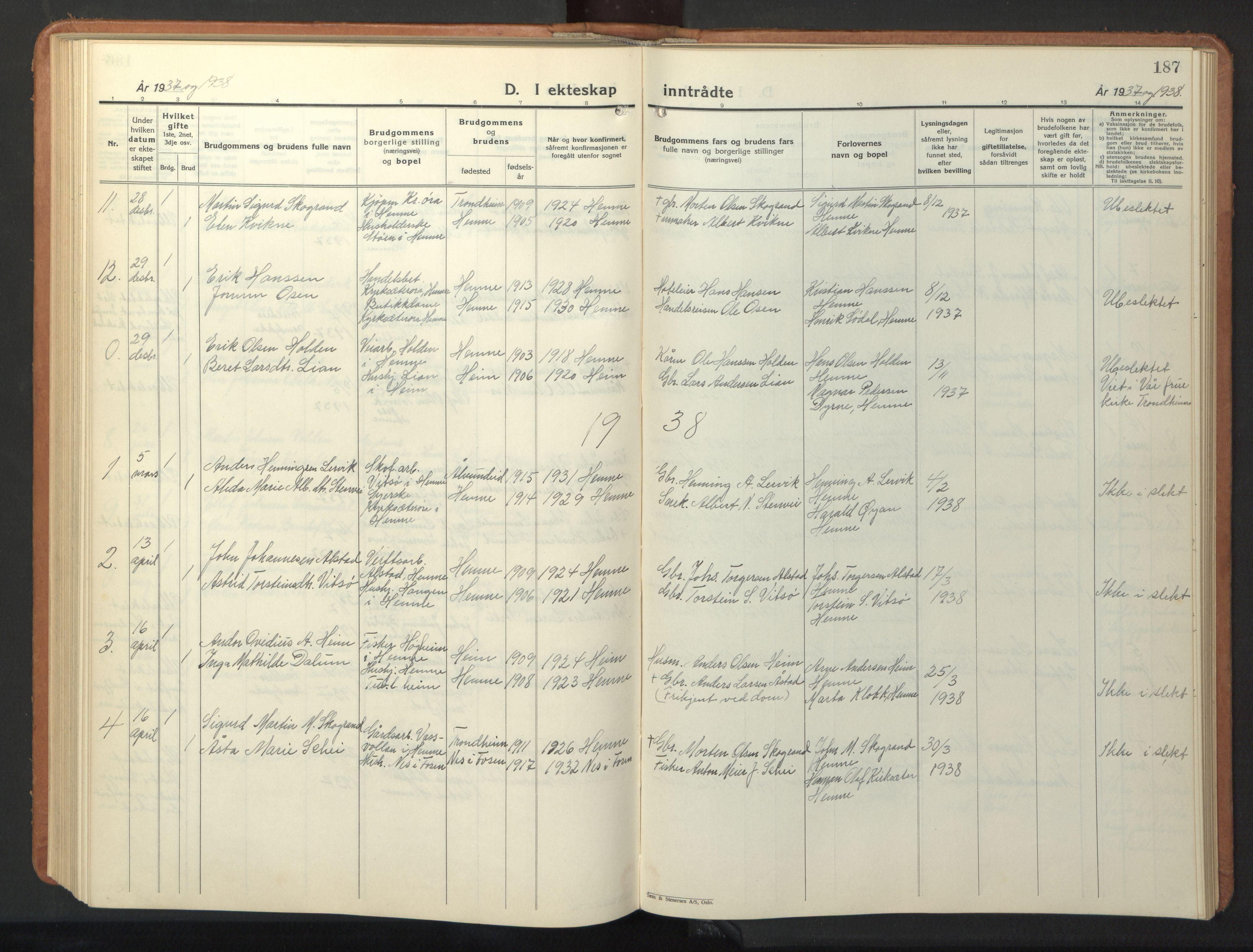 SAT, Ministerialprotokoller, klokkerbøker og fødselsregistre - Sør-Trøndelag, 630/L0508: Klokkerbok nr. 630C06, 1933-1950, s. 187