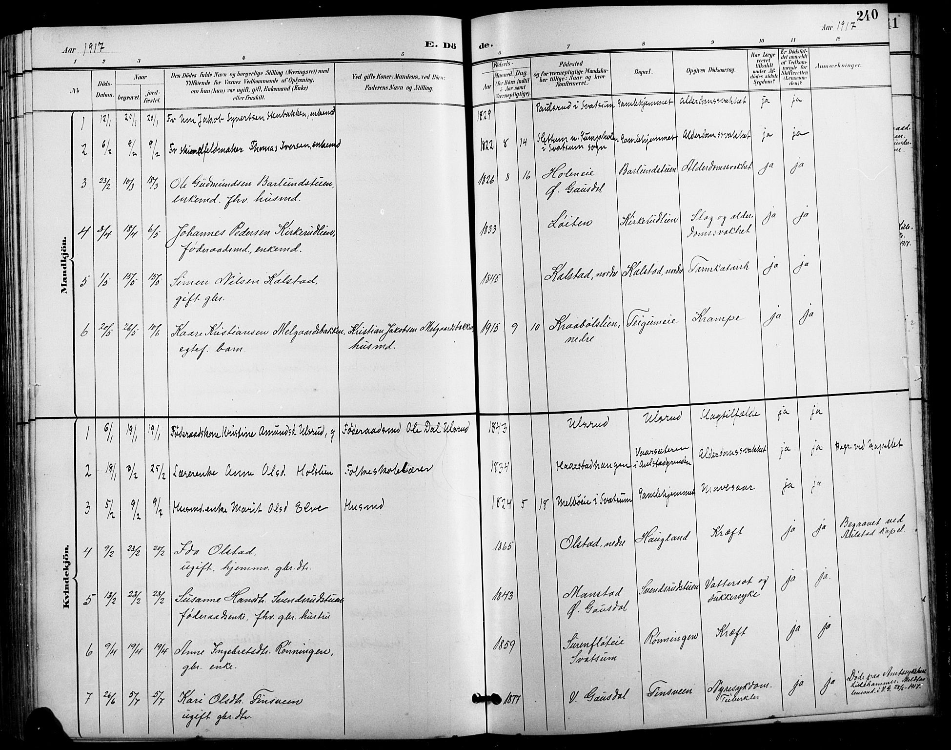SAH, Vestre Gausdal prestekontor, Klokkerbok nr. 3, 1896-1925, s. 240