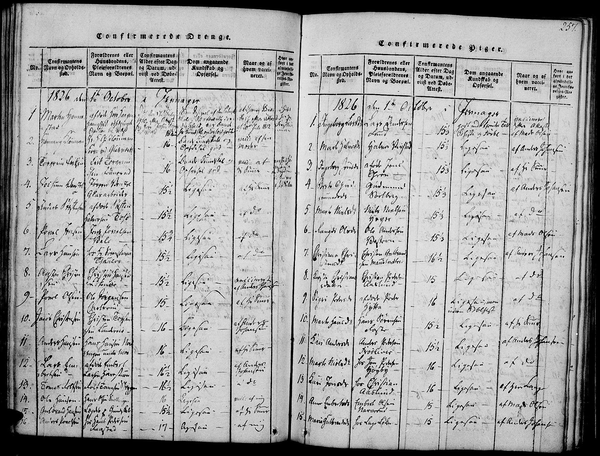 SAH, Jevnaker prestekontor, Ministerialbok nr. 5, 1815-1837, s. 257