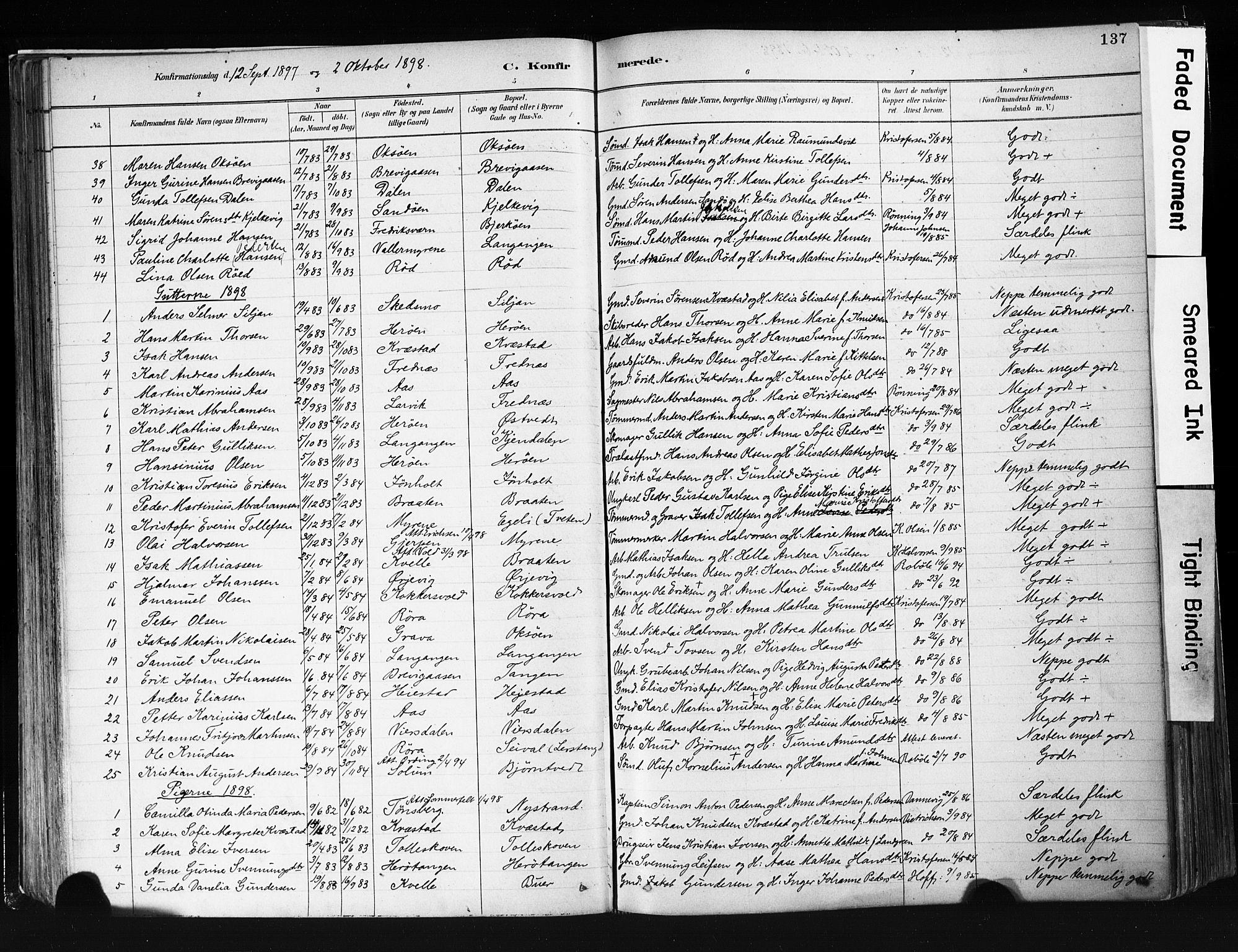 SAKO, Eidanger kirkebøker, F/Fa/L0012: Ministerialbok nr. 12, 1879-1900, s. 137