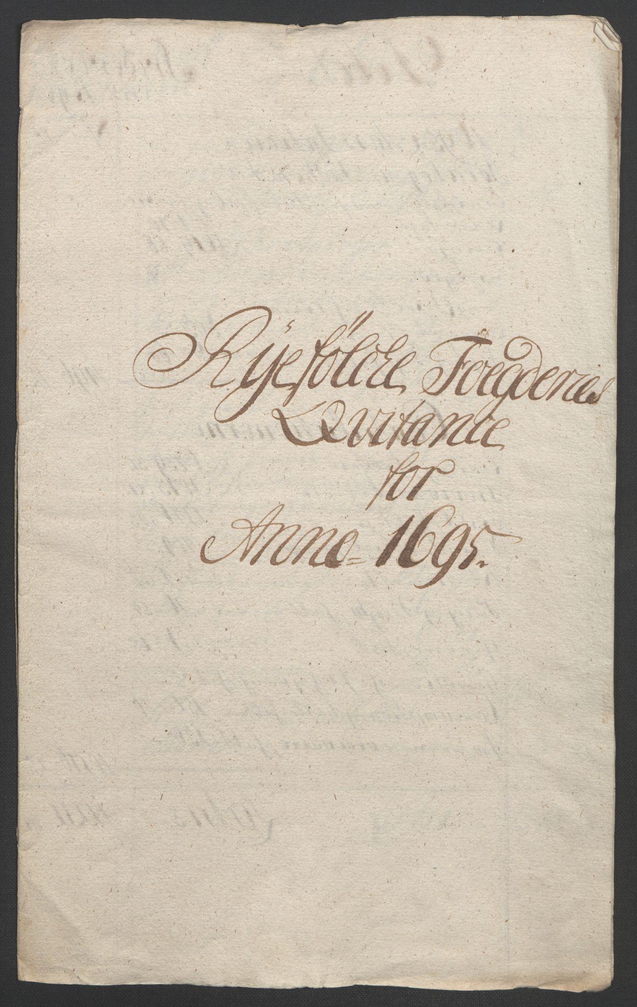 RA, Rentekammeret inntil 1814, Reviderte regnskaper, Fogderegnskap, R47/L2857: Fogderegnskap Ryfylke, 1694-1696, s. 231