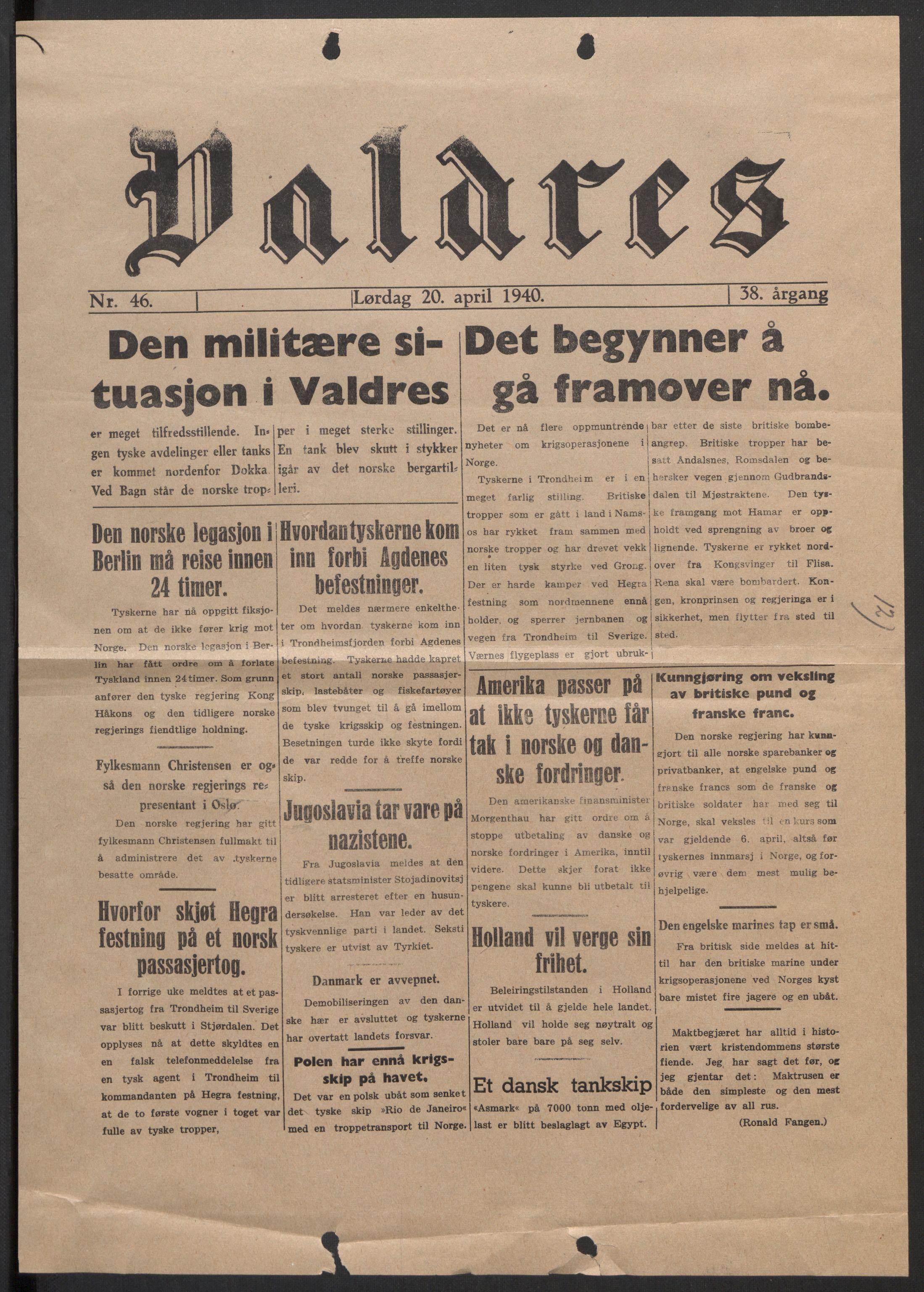 RA, Forsvaret, Forsvarets krigshistoriske avdeling, Y/Yb/L0104: II-C-11-430  -  4. Divisjon., 1940, s. 304