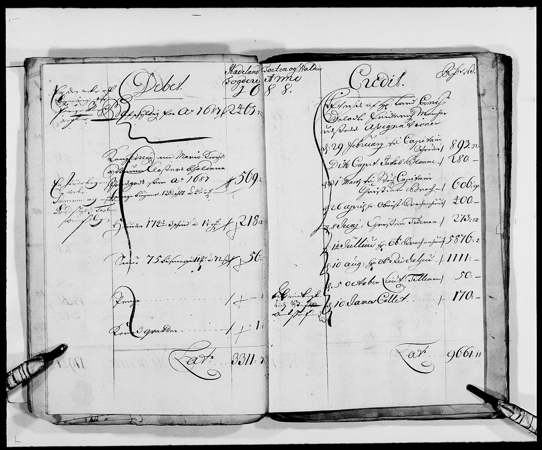RA, Rentekammeret inntil 1814, Reviderte regnskaper, Fogderegnskap, R18/L1287: Fogderegnskap Hadeland, Toten og Valdres, 1688, s. 76