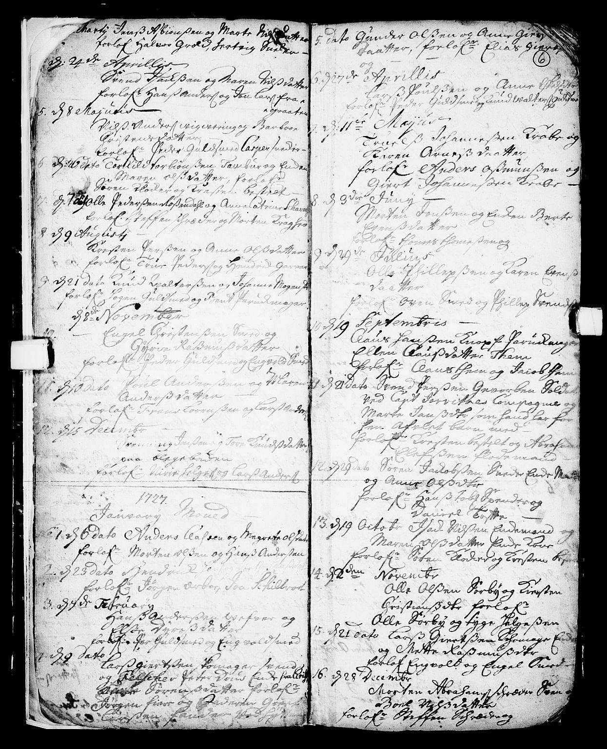 SAKO, Skien kirkebøker, F/Fa/L0002: Ministerialbok nr. 2, 1716-1757, s. 6