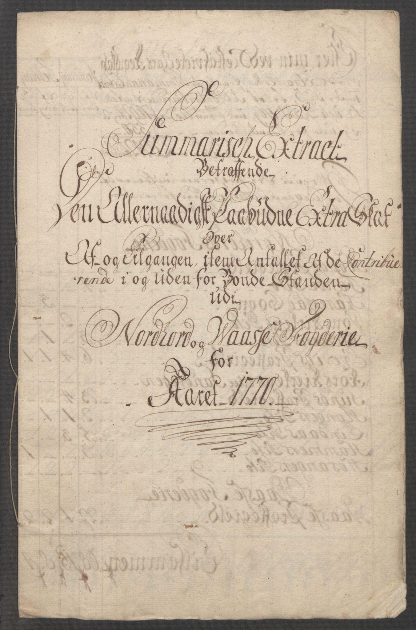 RA, Rentekammeret inntil 1814, Reviderte regnskaper, Fogderegnskap, R51/L3303: Ekstraskatten Nordhordland og Voss, 1762-1772, s. 394