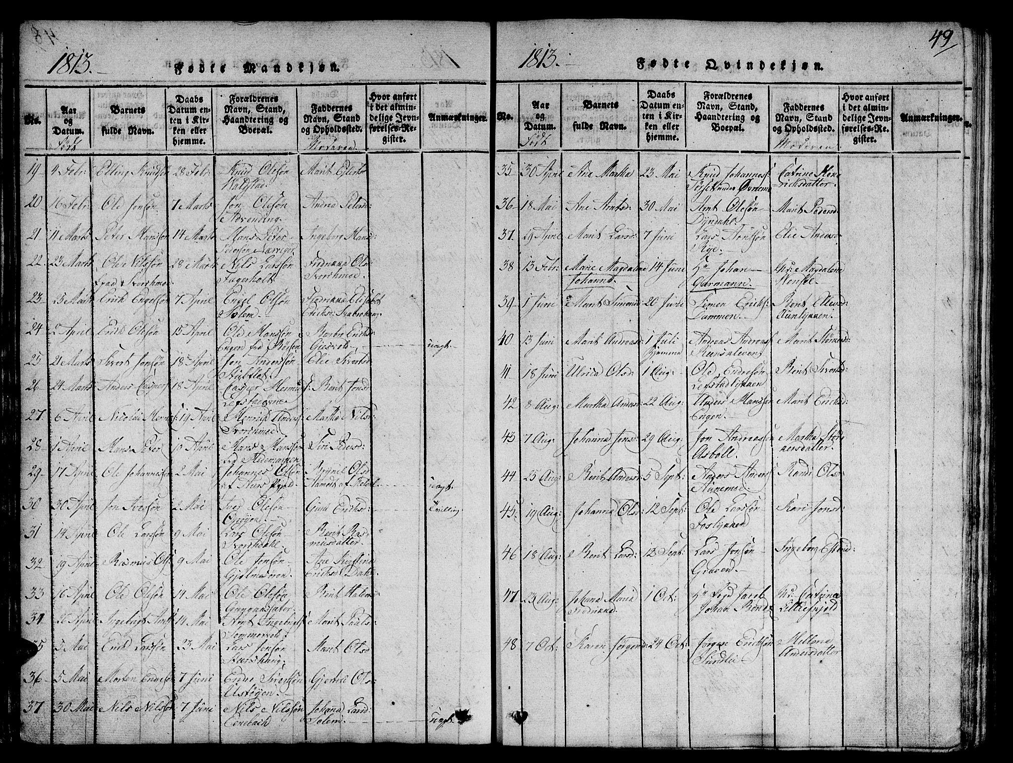 SAT, Ministerialprotokoller, klokkerbøker og fødselsregistre - Sør-Trøndelag, 668/L0803: Ministerialbok nr. 668A03, 1800-1826, s. 49