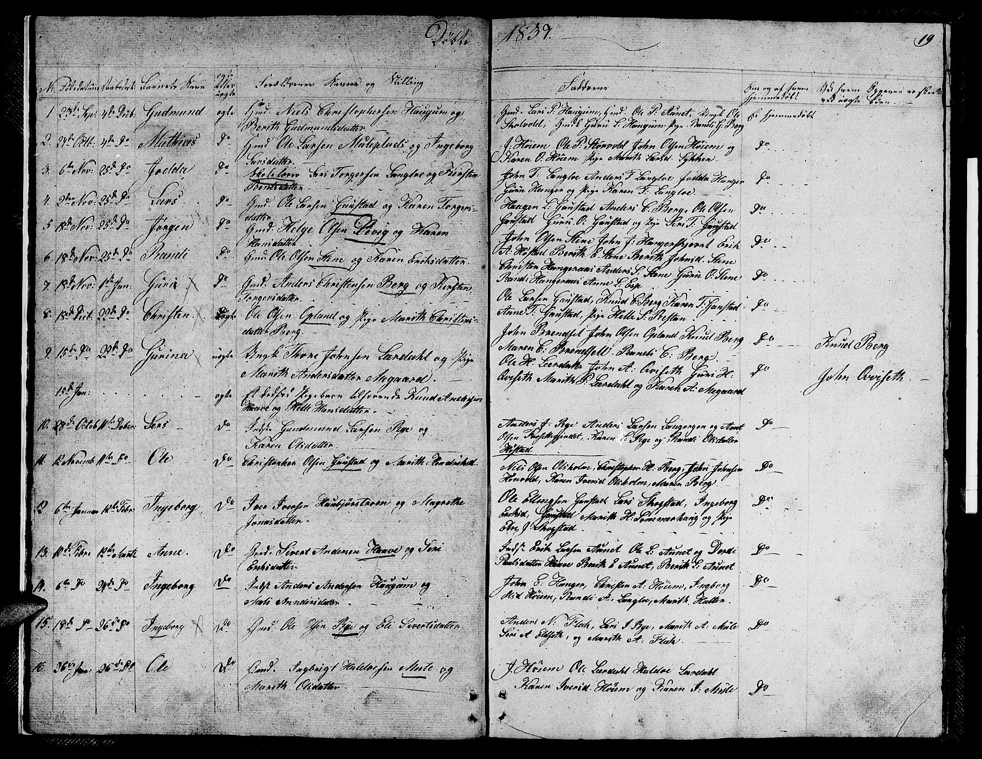 SAT, Ministerialprotokoller, klokkerbøker og fødselsregistre - Sør-Trøndelag, 612/L0386: Klokkerbok nr. 612C02, 1834-1845, s. 19