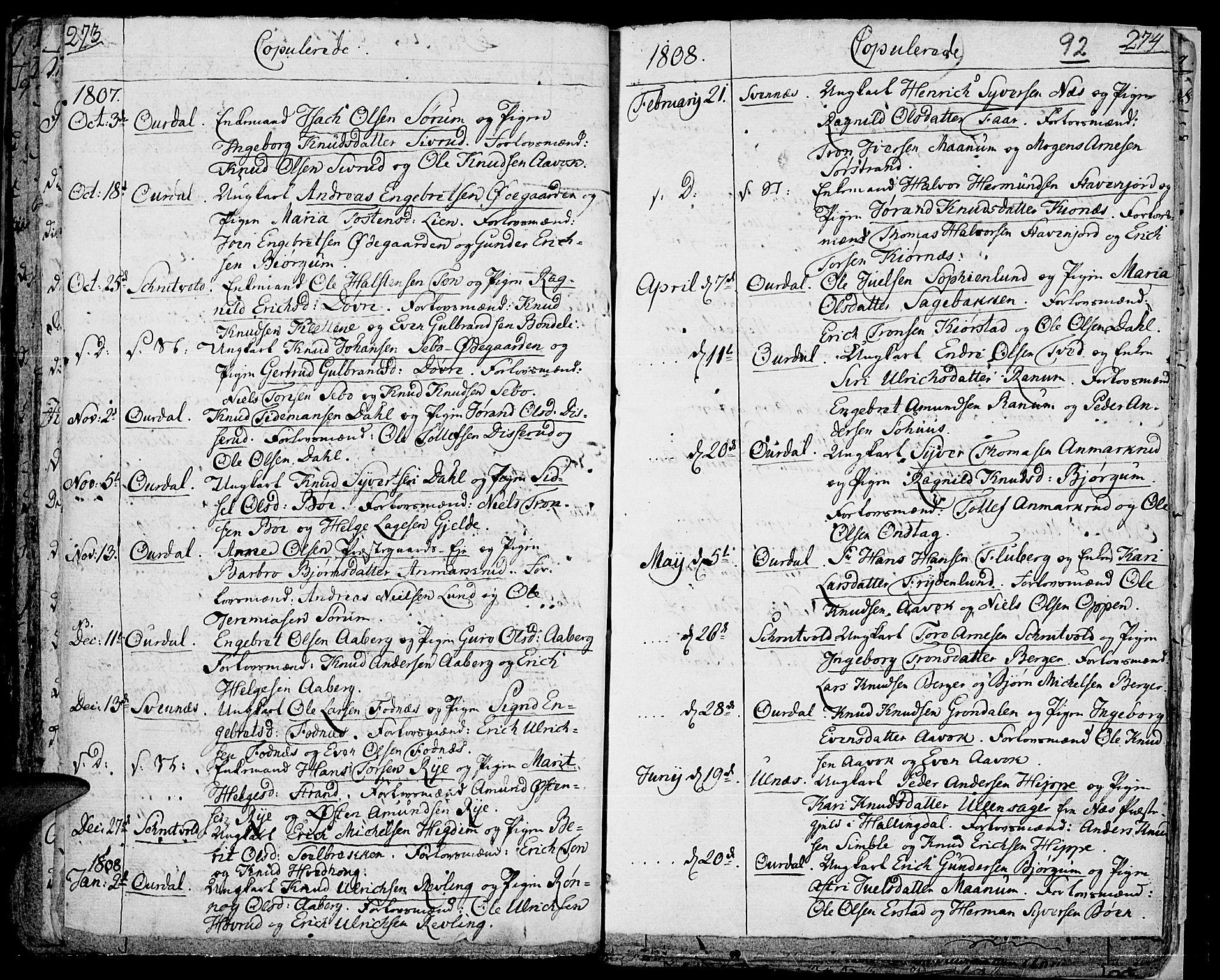 SAH, Aurdal prestekontor, Ministerialbok nr. 7, 1800-1808, s. 92