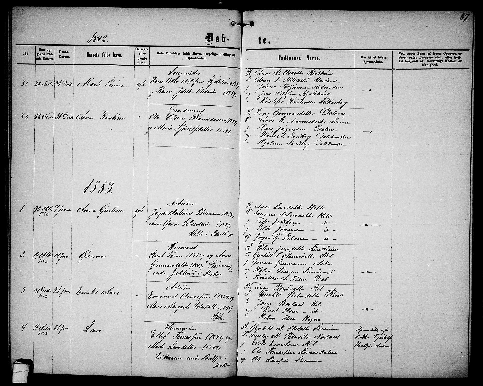 SAKO, Sannidal kirkebøker, G/Ga/L0002: Klokkerbok nr. 2, 1875-1886, s. 87