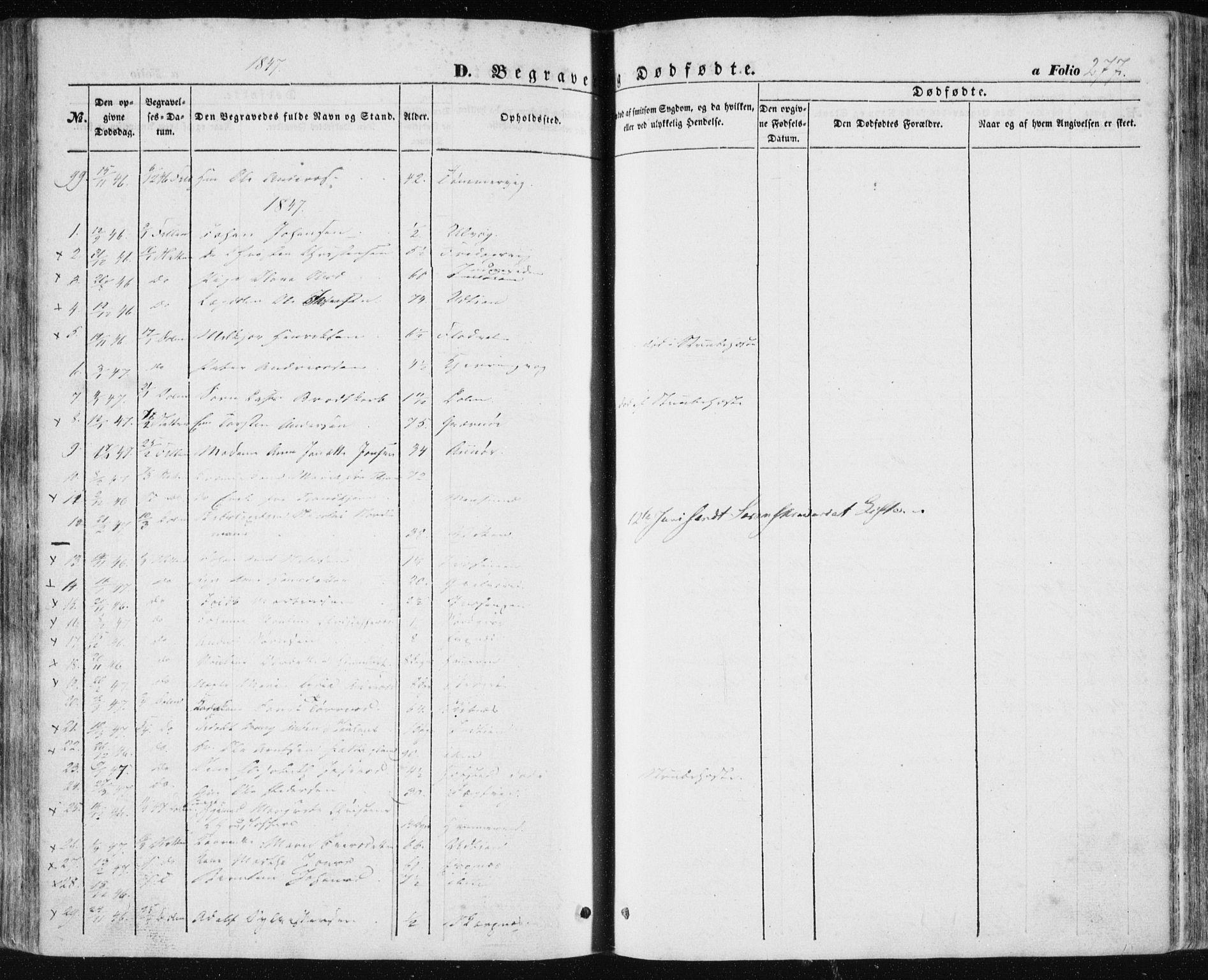 SAT, Ministerialprotokoller, klokkerbøker og fødselsregistre - Sør-Trøndelag, 634/L0529: Ministerialbok nr. 634A05, 1843-1851, s. 277