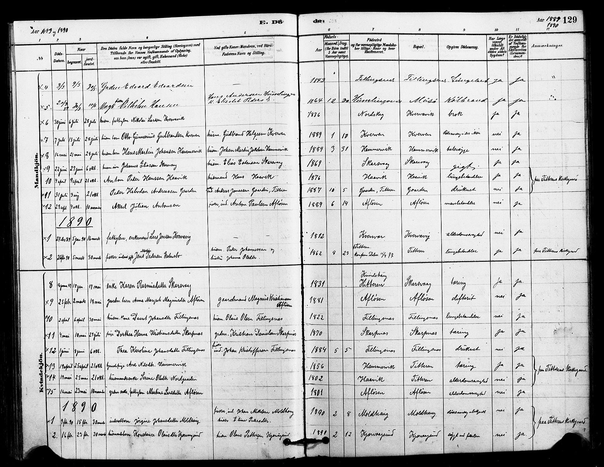 SAT, Ministerialprotokoller, klokkerbøker og fødselsregistre - Sør-Trøndelag, 641/L0595: Ministerialbok nr. 641A01, 1882-1897, s. 129