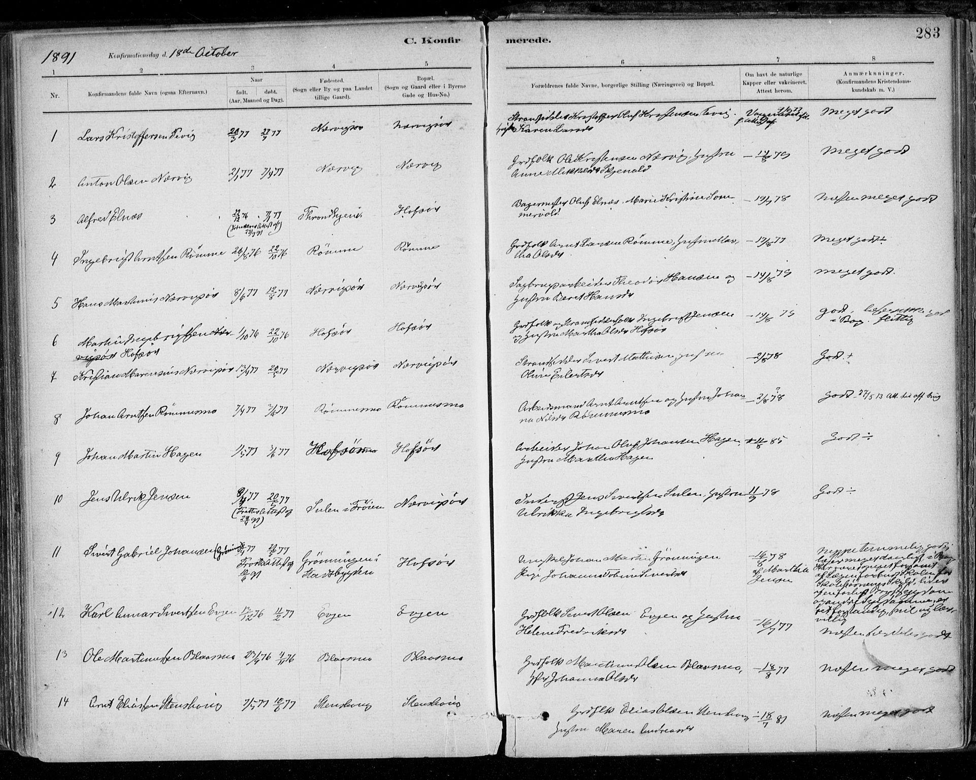 SAT, Ministerialprotokoller, klokkerbøker og fødselsregistre - Sør-Trøndelag, 668/L0809: Ministerialbok nr. 668A09, 1881-1895, s. 283