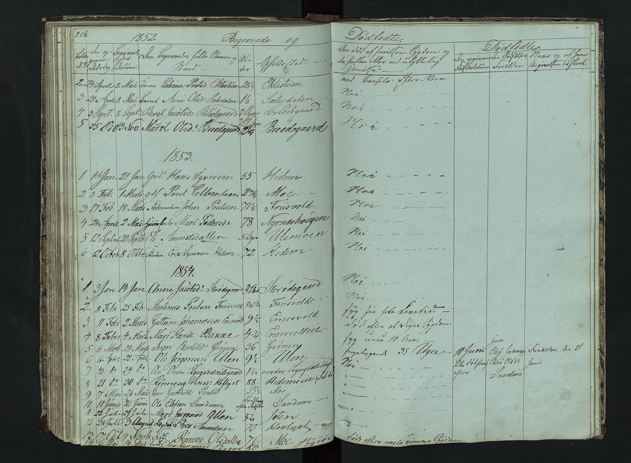 SAH, Lom prestekontor, L/L0014: Klokkerbok nr. 14, 1845-1876, s. 202-203