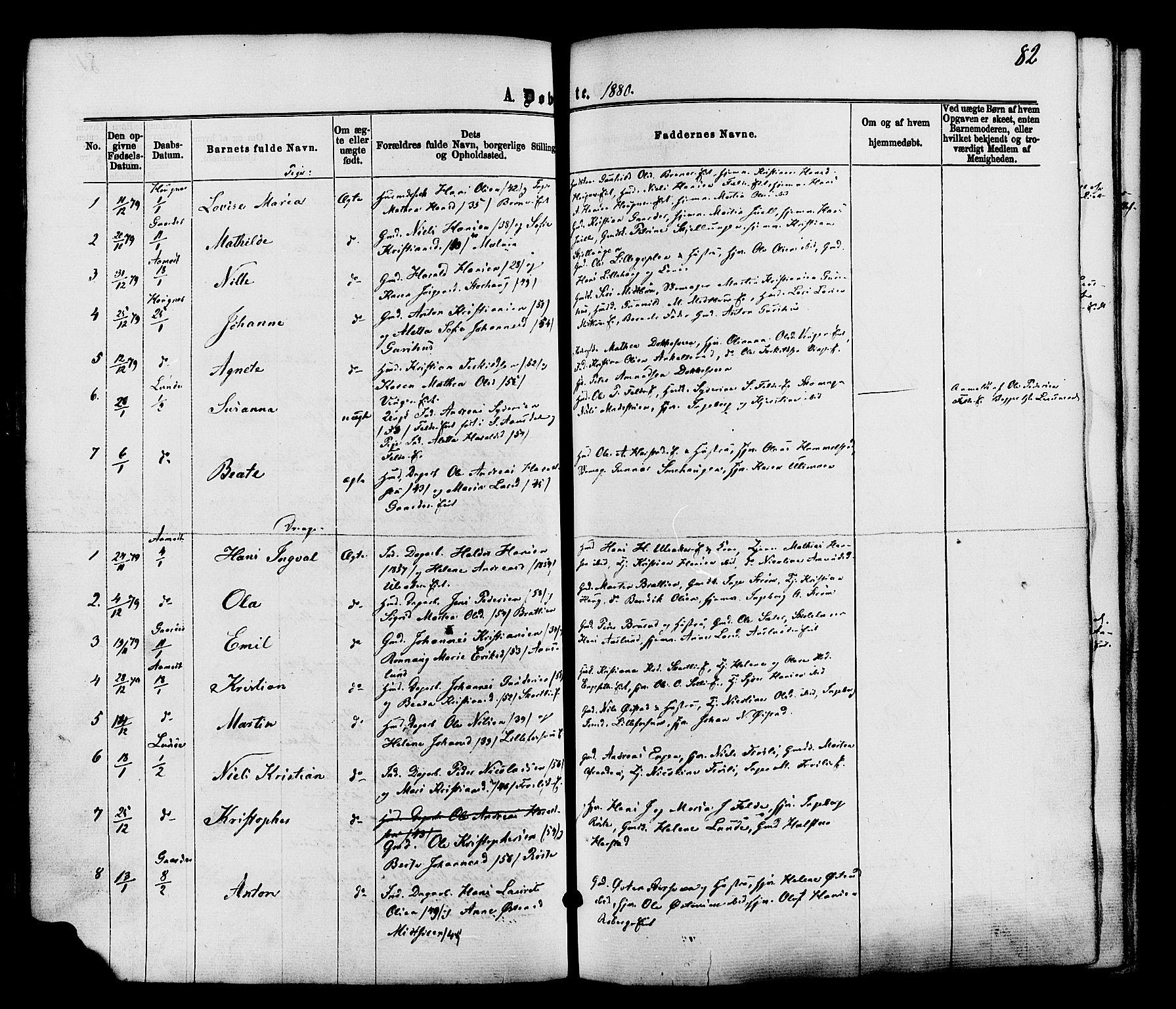 SAH, Nordre Land prestekontor, Ministerialbok nr. 2, 1872-1881, s. 82
