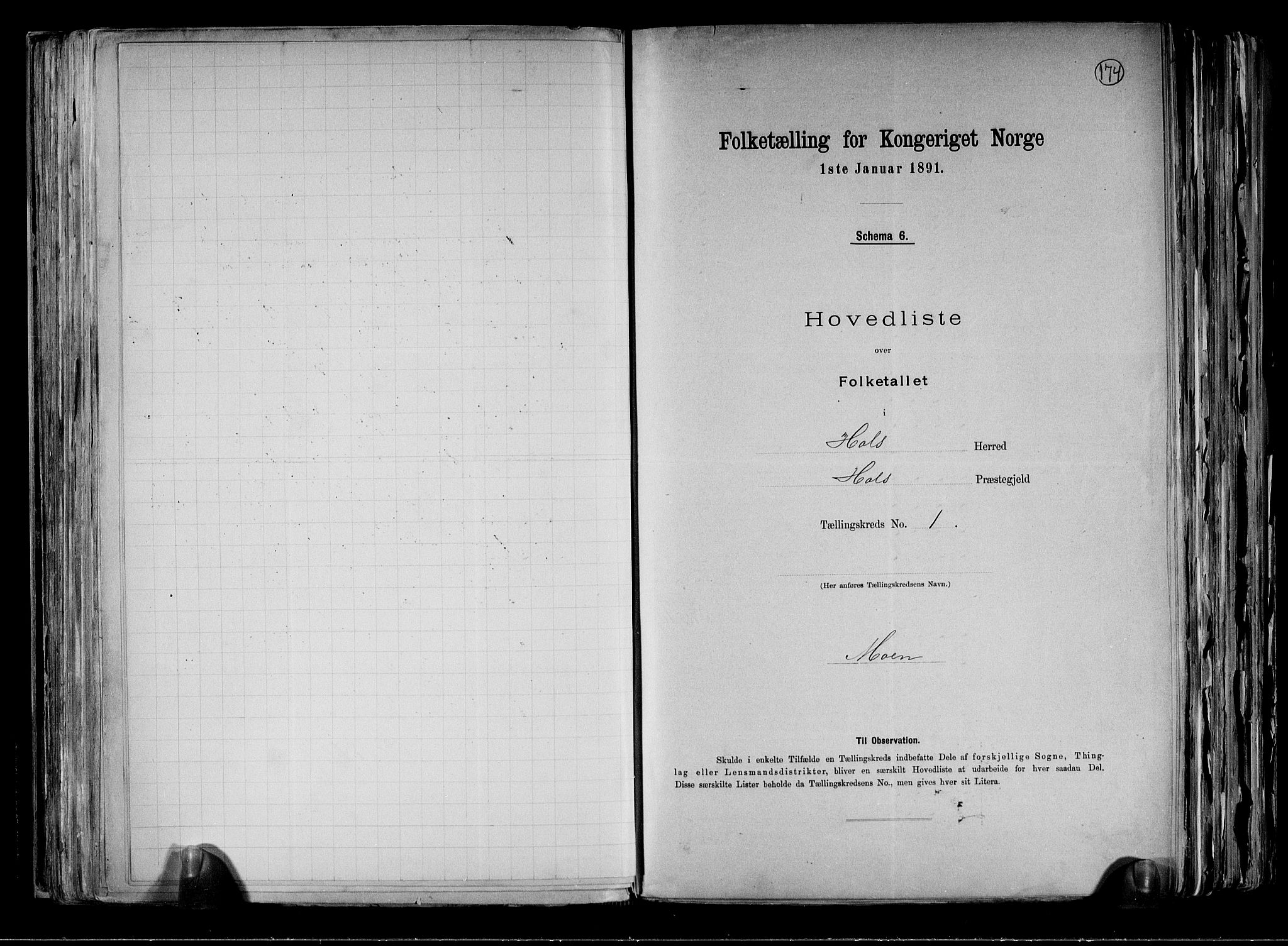 RA, Folketelling 1891 for 0620 Hol herred, 1891, s. 7
