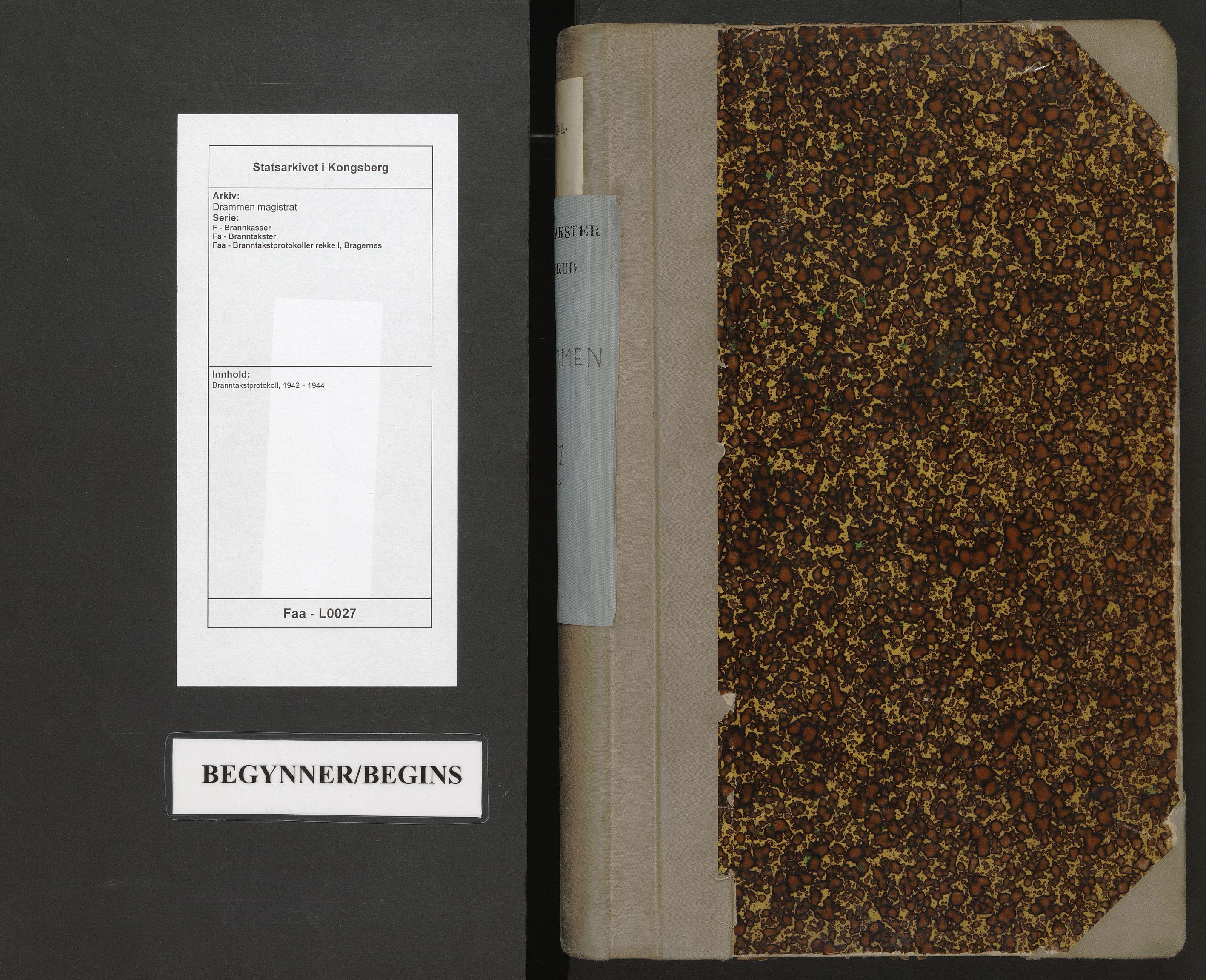 SAKO, Drammen magistrat, F/Fa/Faa/L0027: Branntakstprotokoll, 1942-1944