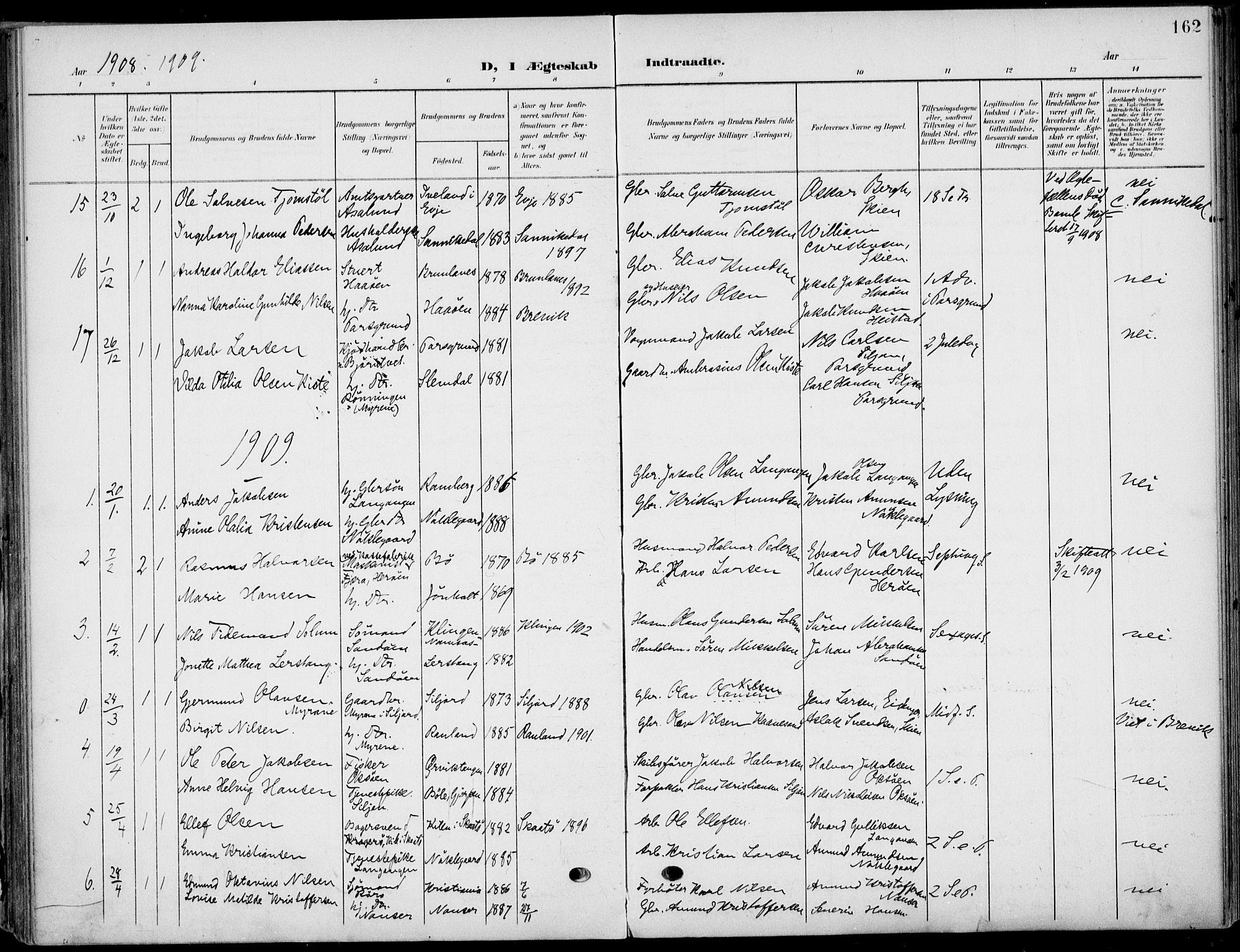SAKO, Eidanger kirkebøker, F/Fa/L0013: Ministerialbok nr. 13, 1900-1913, s. 162