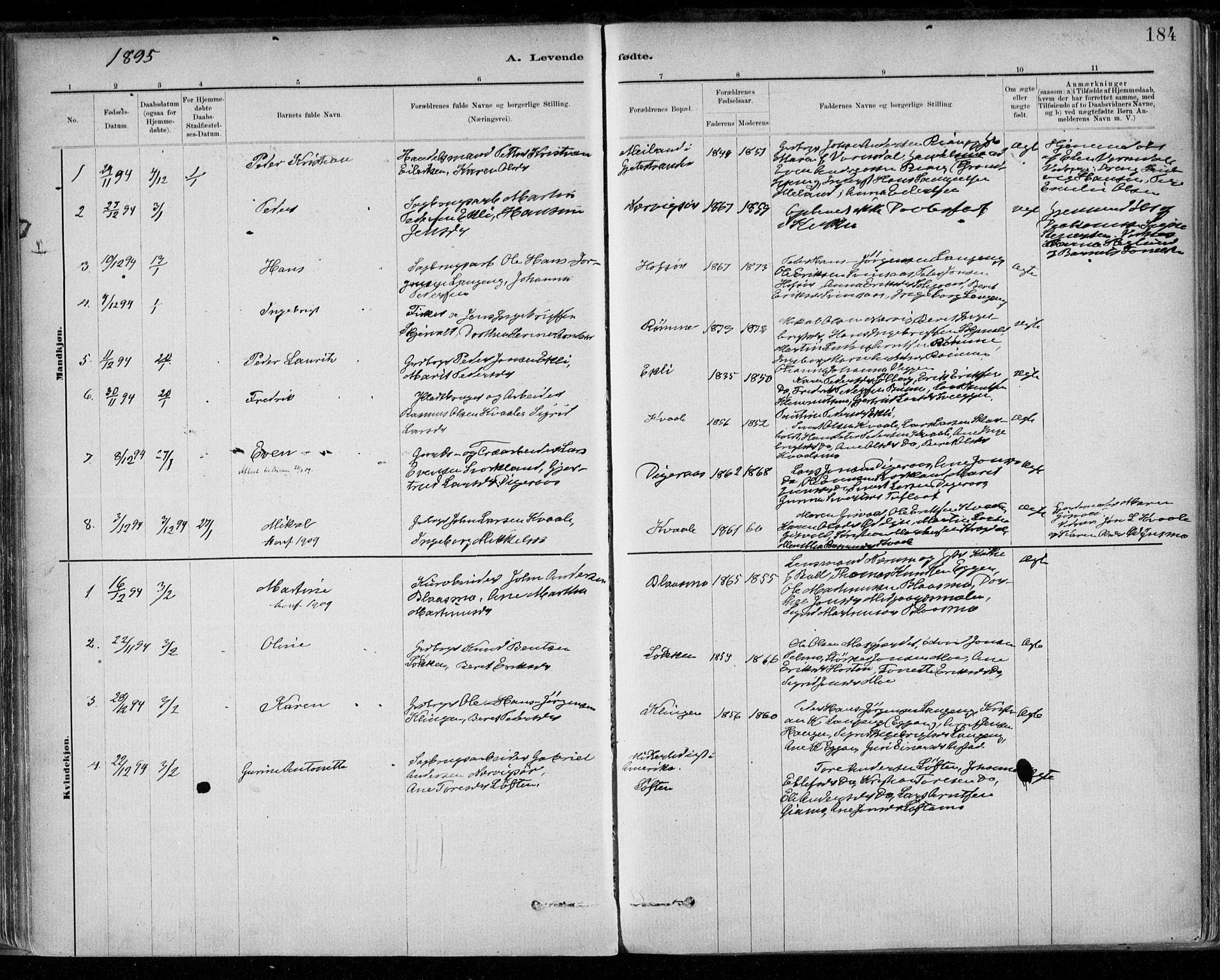 SAT, Ministerialprotokoller, klokkerbøker og fødselsregistre - Sør-Trøndelag, 668/L0809: Ministerialbok nr. 668A09, 1881-1895, s. 184