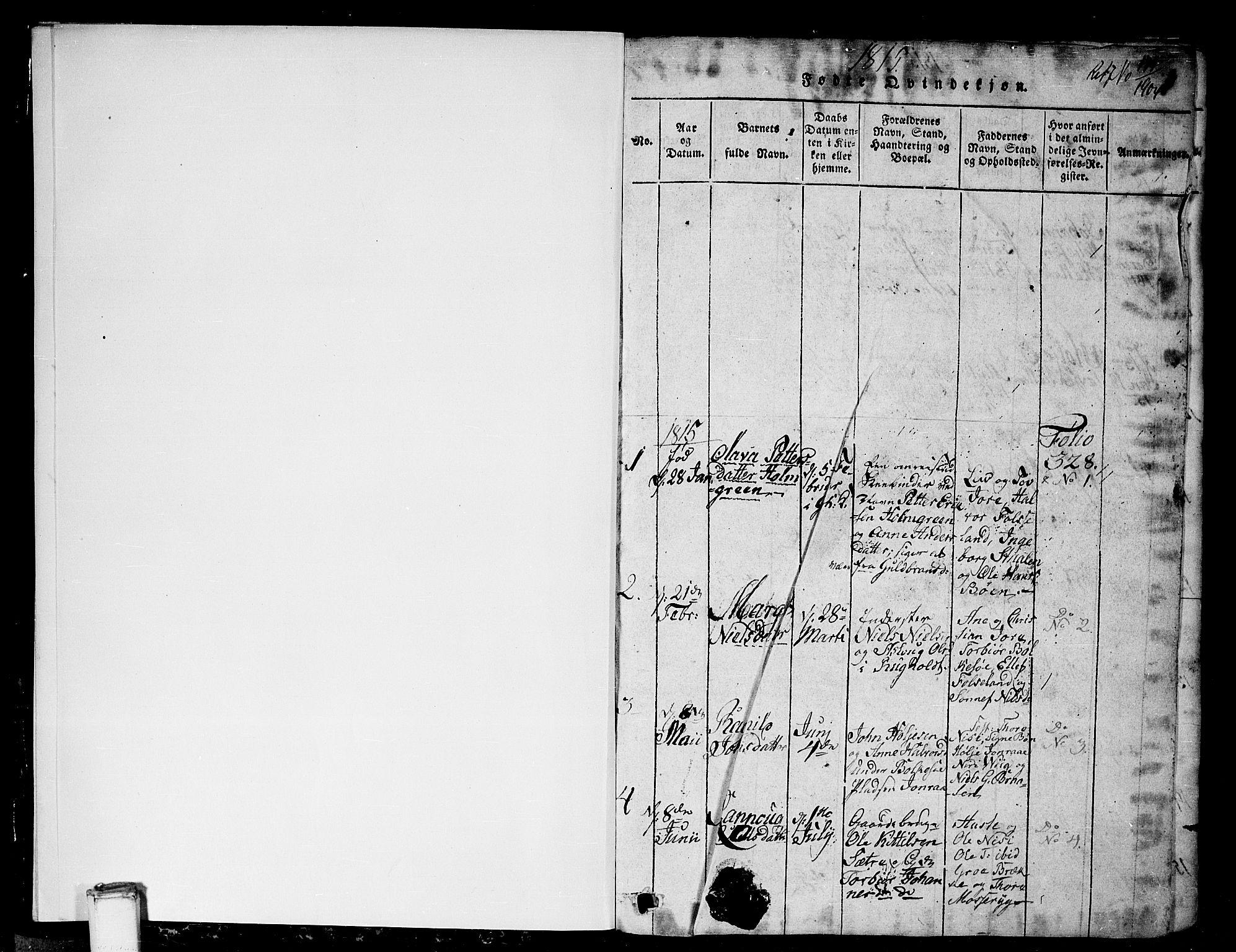 SAKO, Gransherad kirkebøker, G/Ga/L0001: Klokkerbok nr. I 1, 1815-1842, s. 1