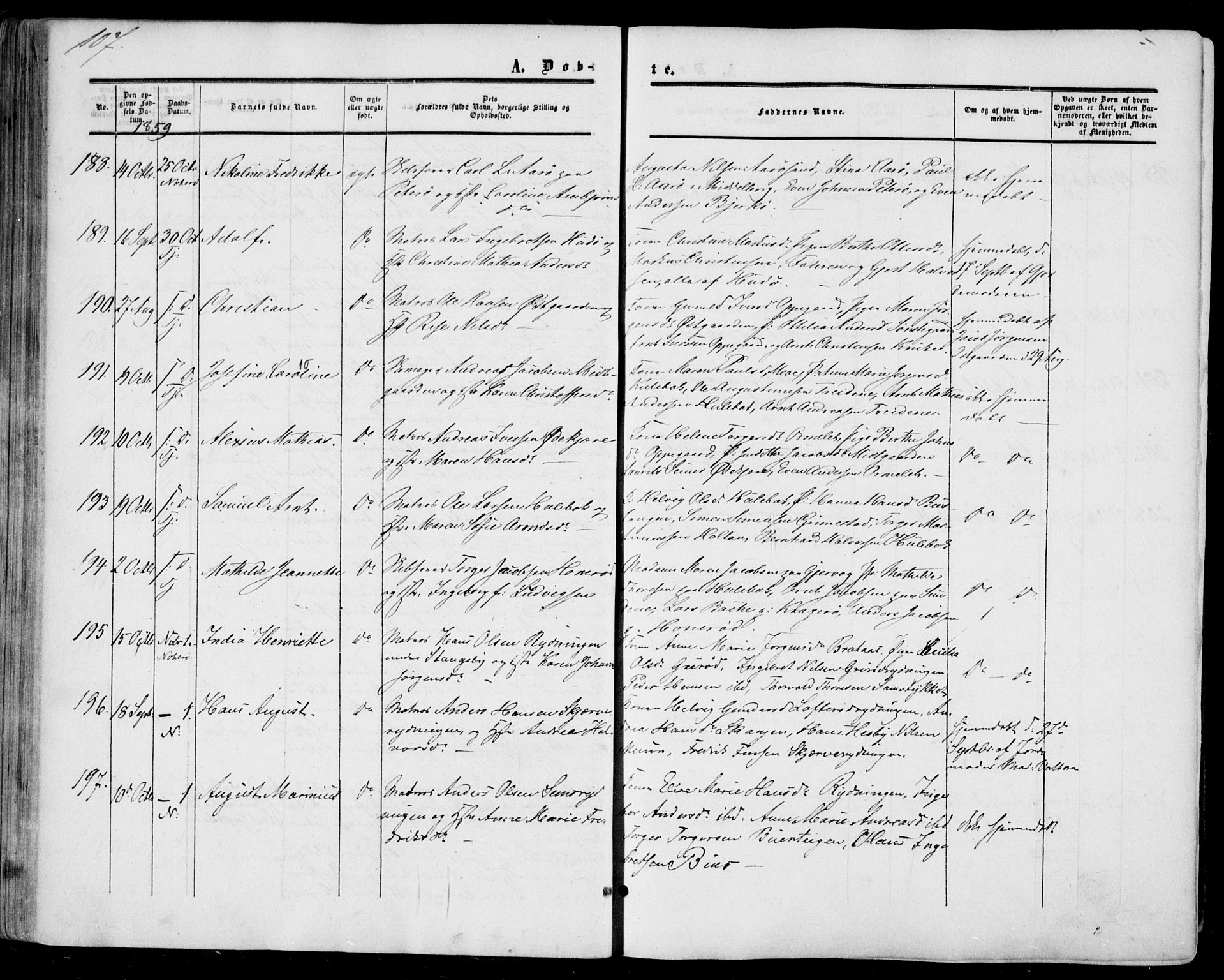 SAKO, Nøtterøy kirkebøker, F/Fa/L0006: Ministerialbok nr. I 6, 1852-1864, s. 107